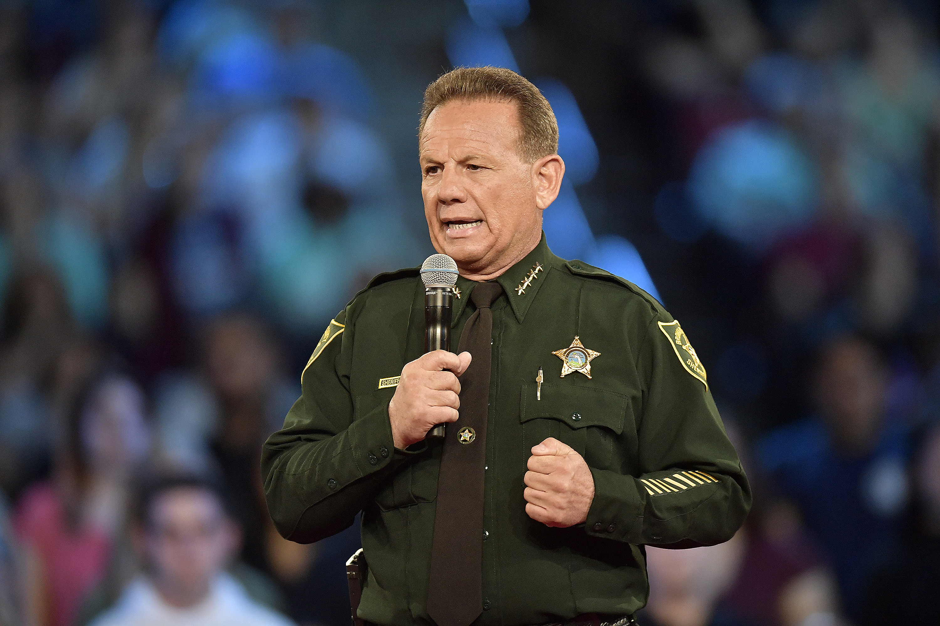 Broward County Sheriff Scott Israel speaks before the start of a CNN town hall meeting on Wednesday, Feb. 21, 2018, at the BB&T Center, in Sunrise, Fla.