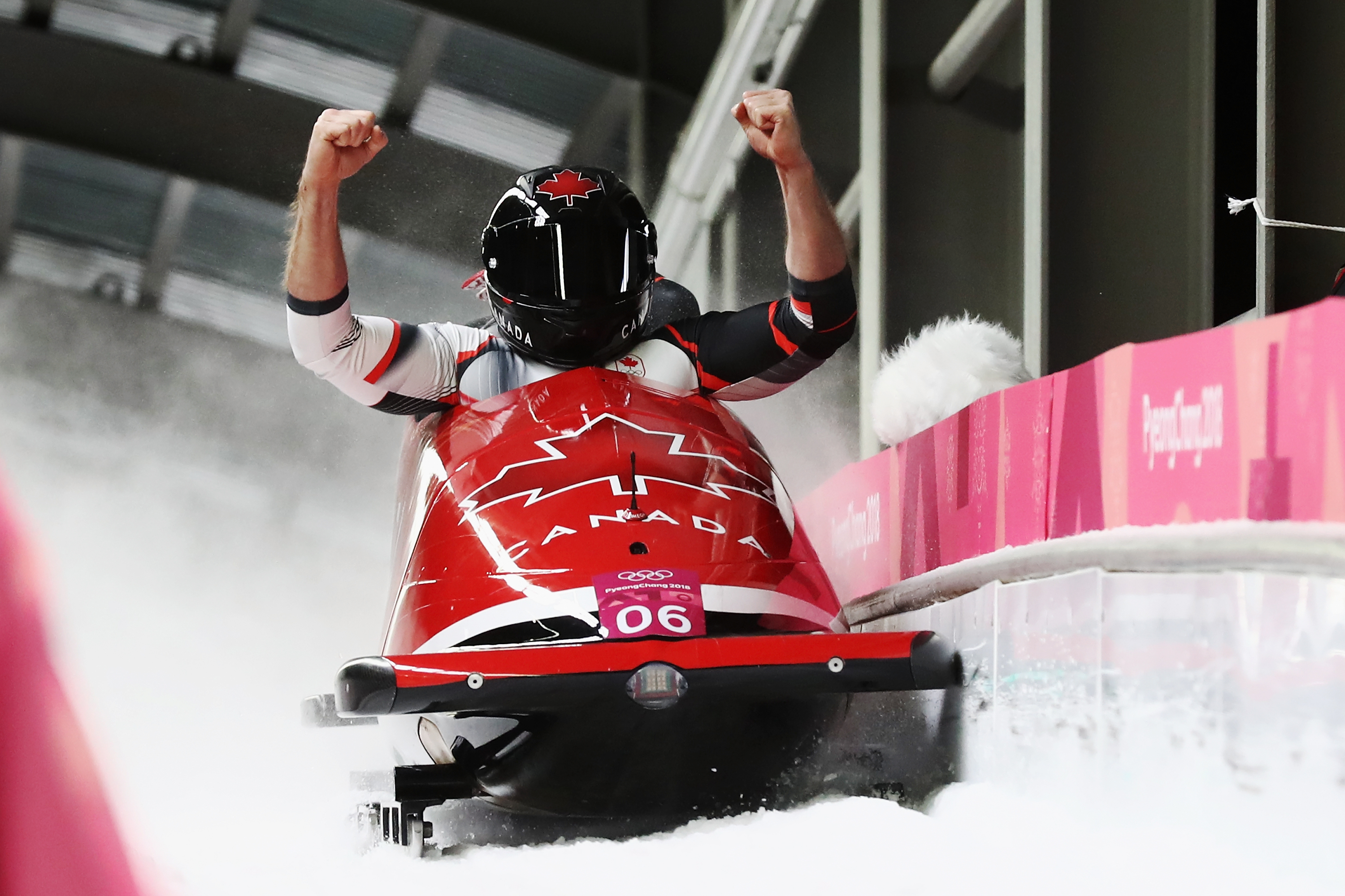 Justin Kripps and Alexander Kopacz of Canada celebrate as they win joint gold during the Men's 2-Man Bobsleigh on day 10 of the PyeongChang 2018 Winter Olympic Games at Olympic Sliding Centre on February 19, 2018 in Pyeongchang-gun, South Korea.