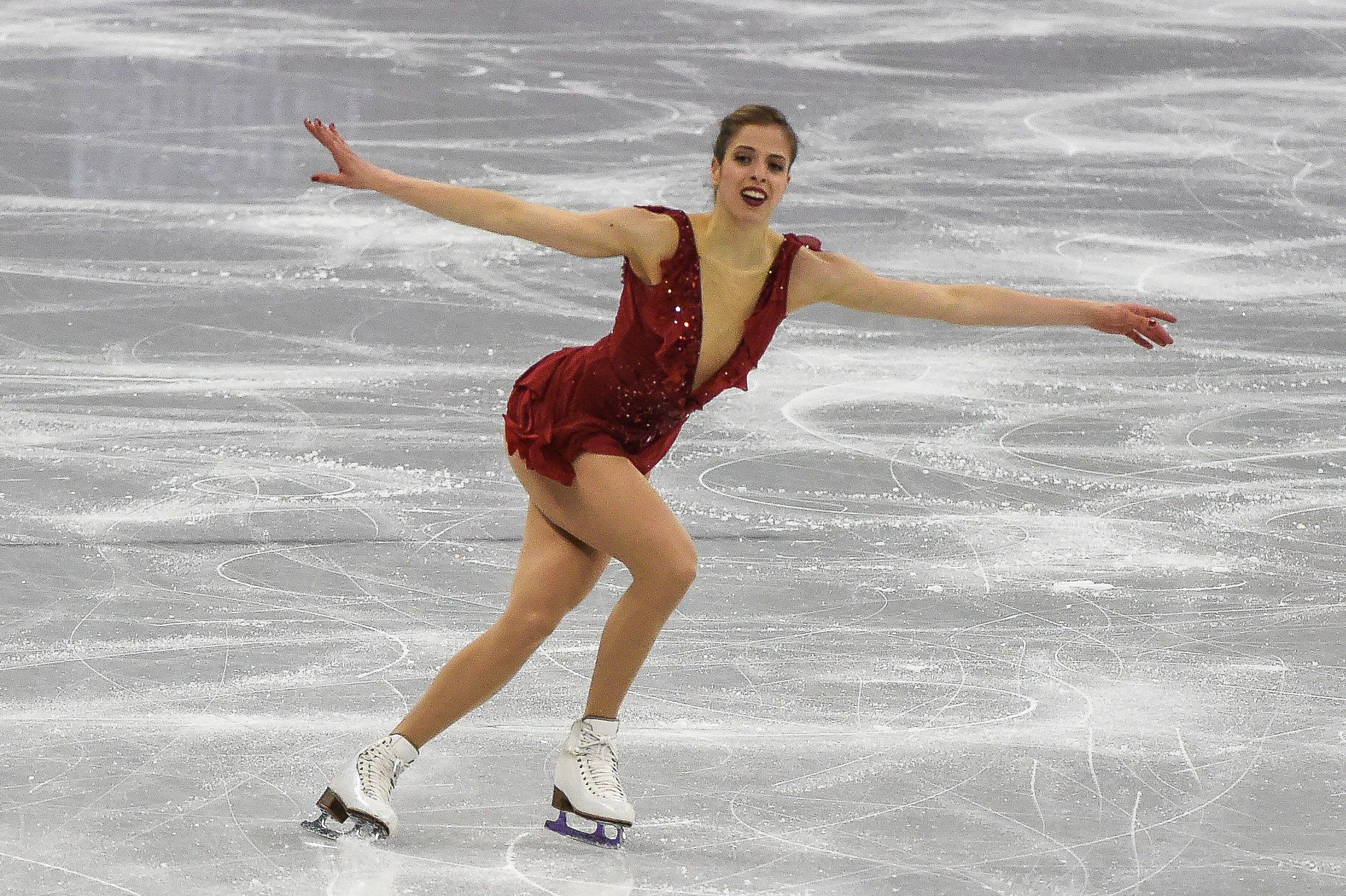 Carolina Kostner of  Italy competing in free dance at Gangneung Ice Arena , Gangneung, South Korea                       Pyeongchang Winter Olympics Day 13, Gangneung, USA - 21 Feb 2018