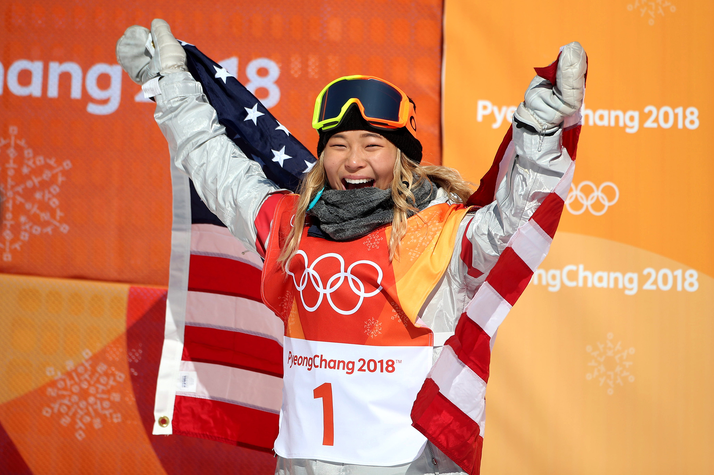 Gold medalist Chloe Kim of the United States celebrates her gold medal win during the Snowboard Ladies' Halfpipe competition on Feb. 13, 2018.