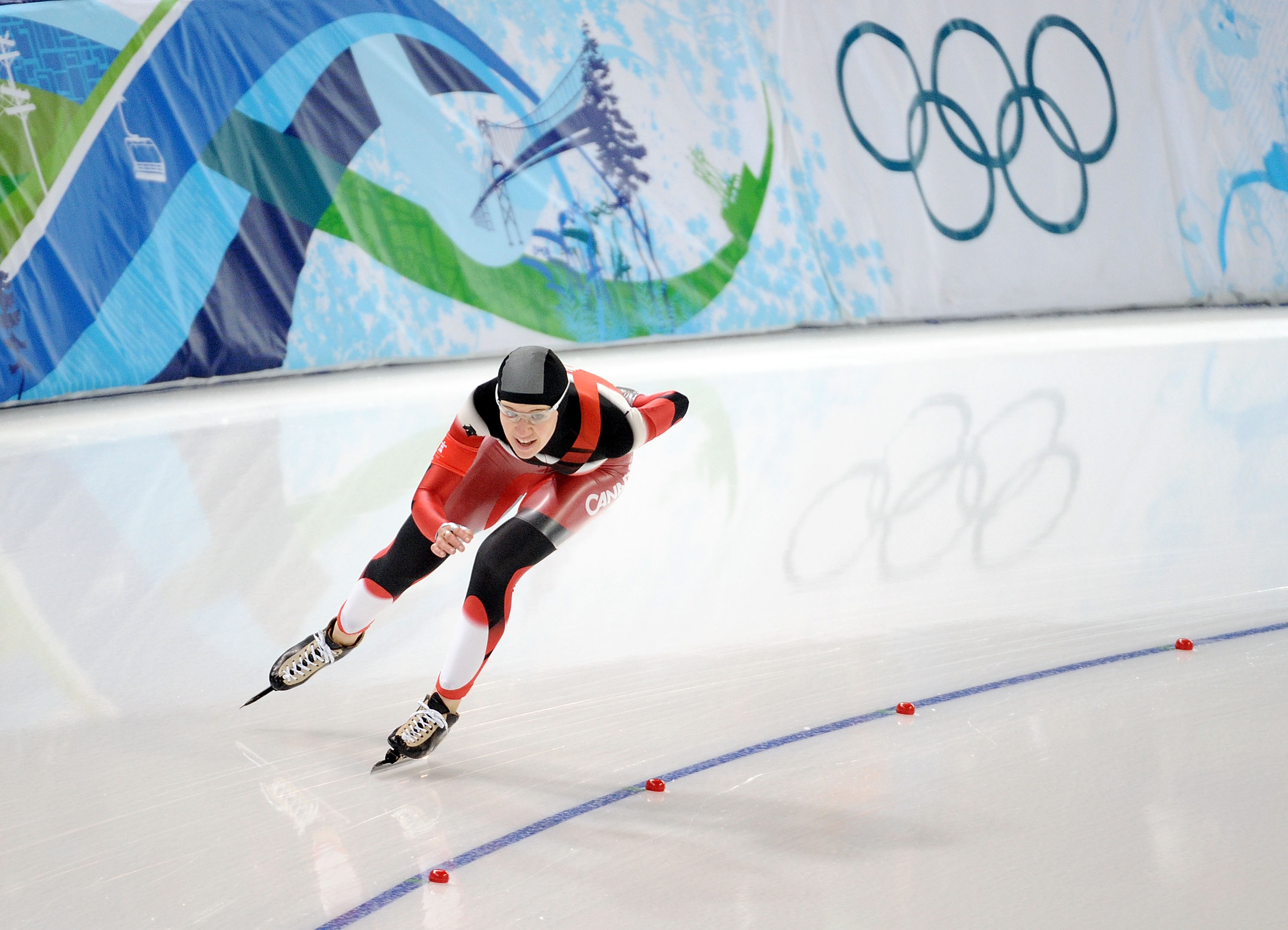 Clara Hughes of Canada on the ice during the Ladies' 5000m Speed Skating finals during the 2010 Vancouver Winter Olympics in Canada. Harry How—Getty Images
