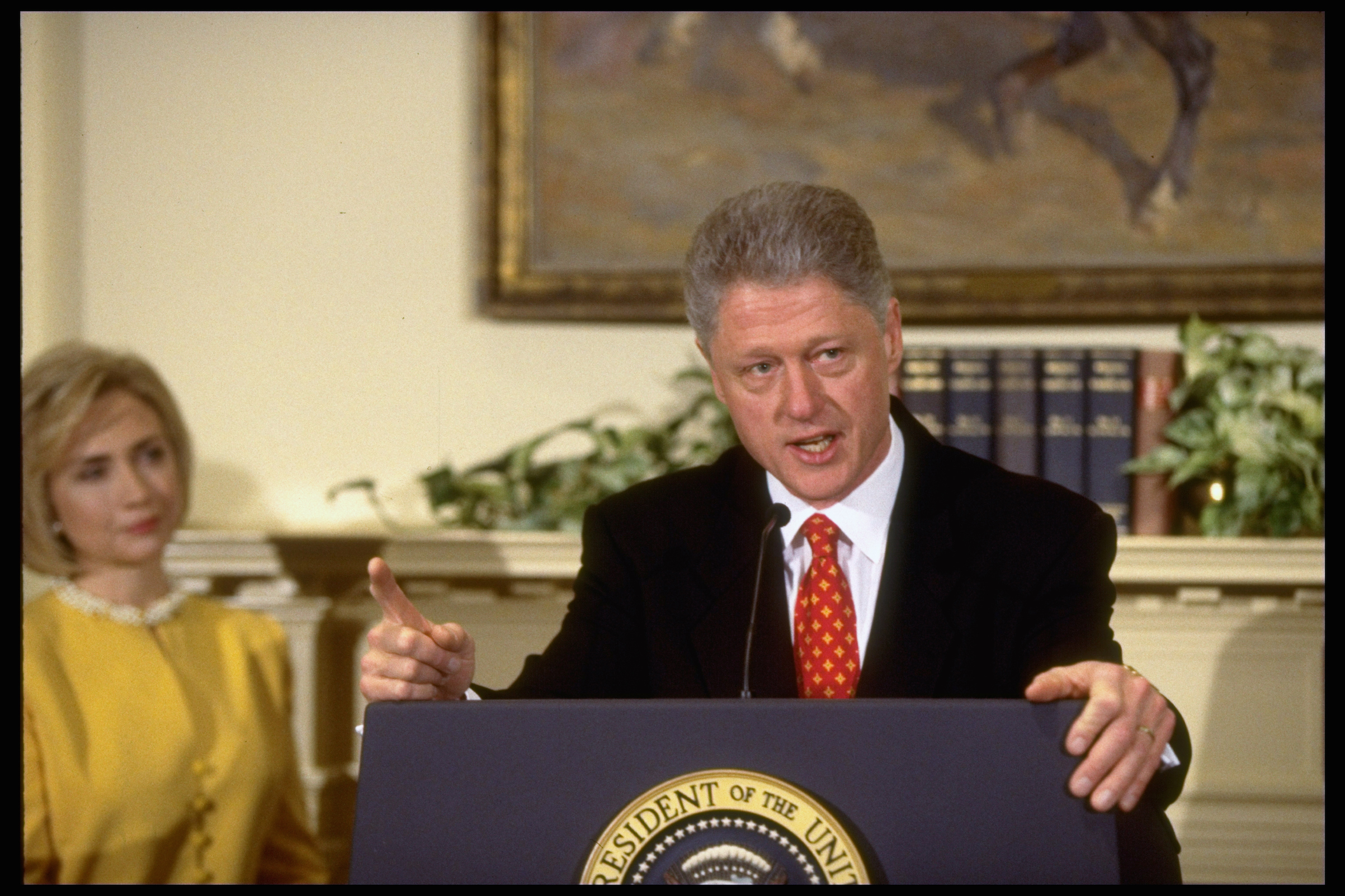 Pres. Bill Clinton emphatically denying having an affair with former White House intern Monica Lewinsky, during a White House event with First Lady Hillary Rodham Clinton at his side, on Jan. 26, 1998