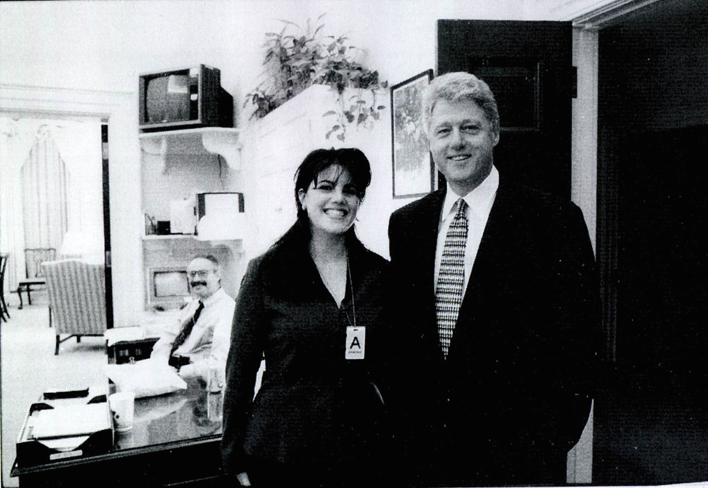 A photograph showing former White House intern Monica Lewinsky meeting President Bill Clinton at a White House function, submitted as evidence in documents by the Starr investigation and released by the House Judiciary committee Sept. 21, 1998.