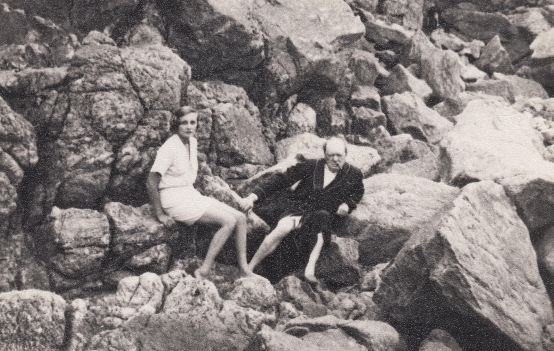 Doris Castlerosse and Churchill on a beach near Chateau de L'Horizon mid 1930s.