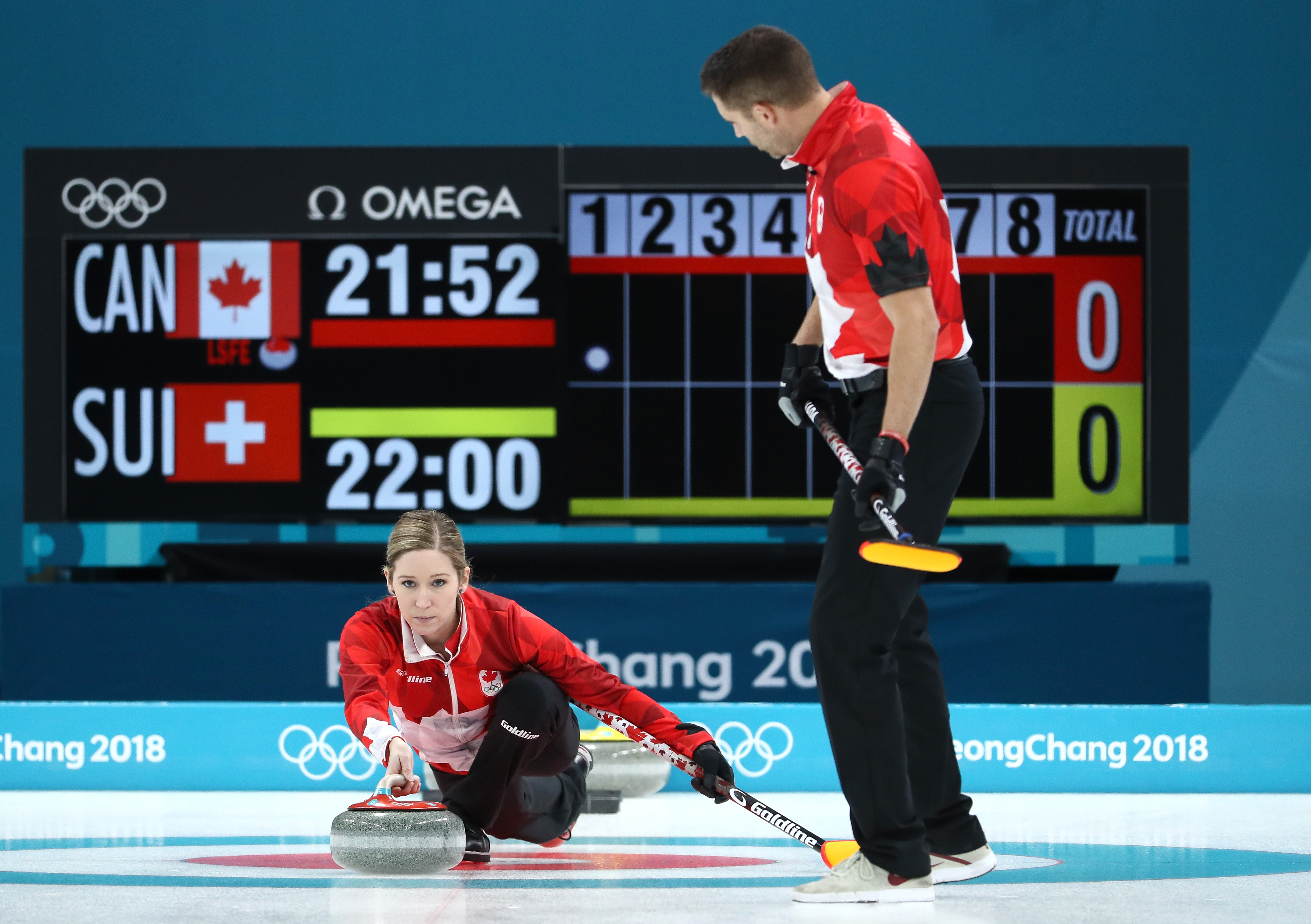 Kaitlyn Lawes and John Morris of Canada deliver a stone against Switzerland during the Curling Mixed Doubles Gold Medal Game in PyeongChang on Feb. 13, 2018. Jamie Squire—Getty Images