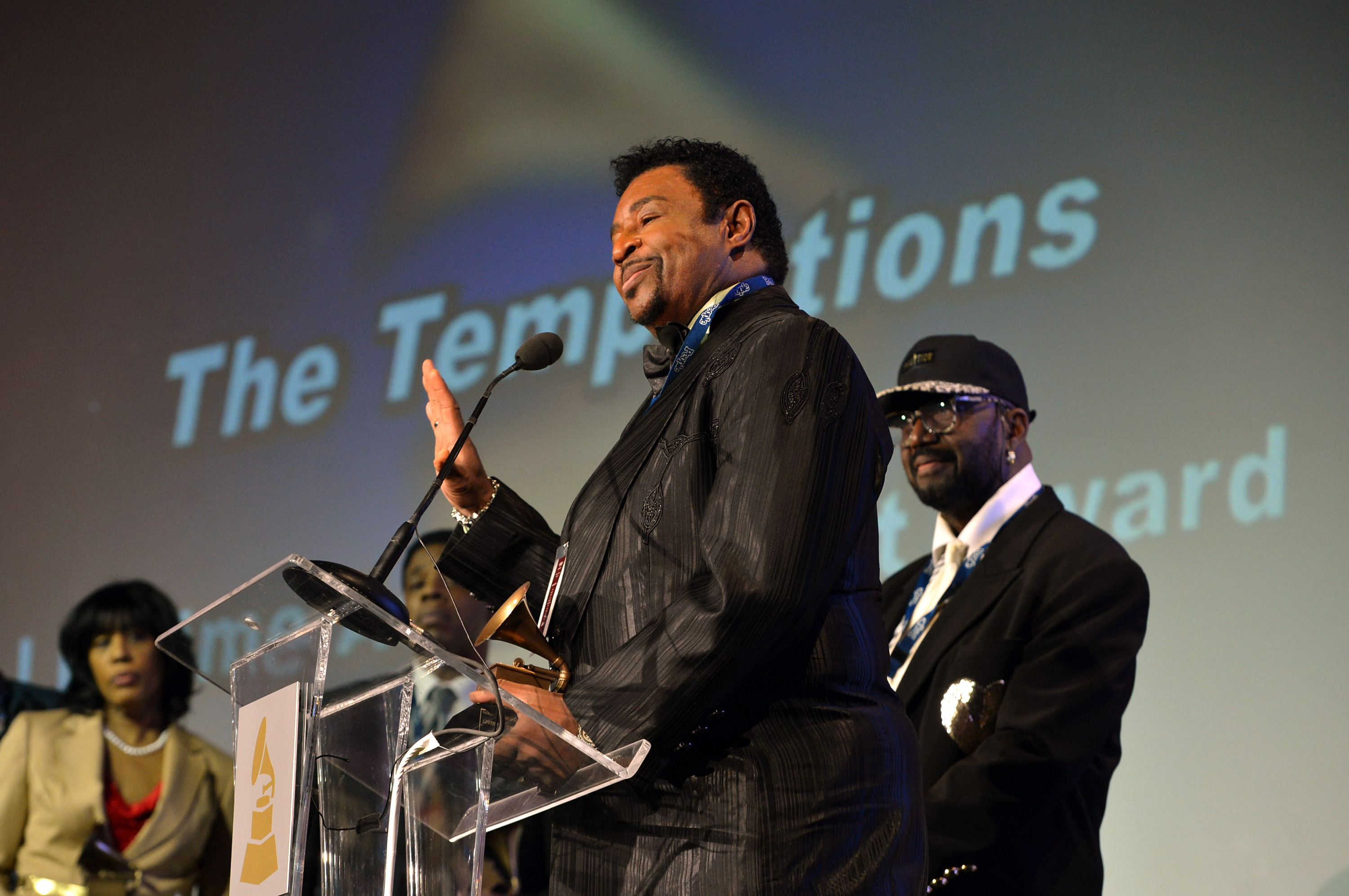 LOS ANGELES, CA - FEBRUARY 09: Singer Dennis Edwards of The Temptations speaks onstage during the Special Merit Awards Ceremony during the 55th Annual GRAMMY Awards at the Wilshire Ebell Theater on February 9, 2013 in Los Angeles, California. (Photo by Rick Diamond/WireImage)