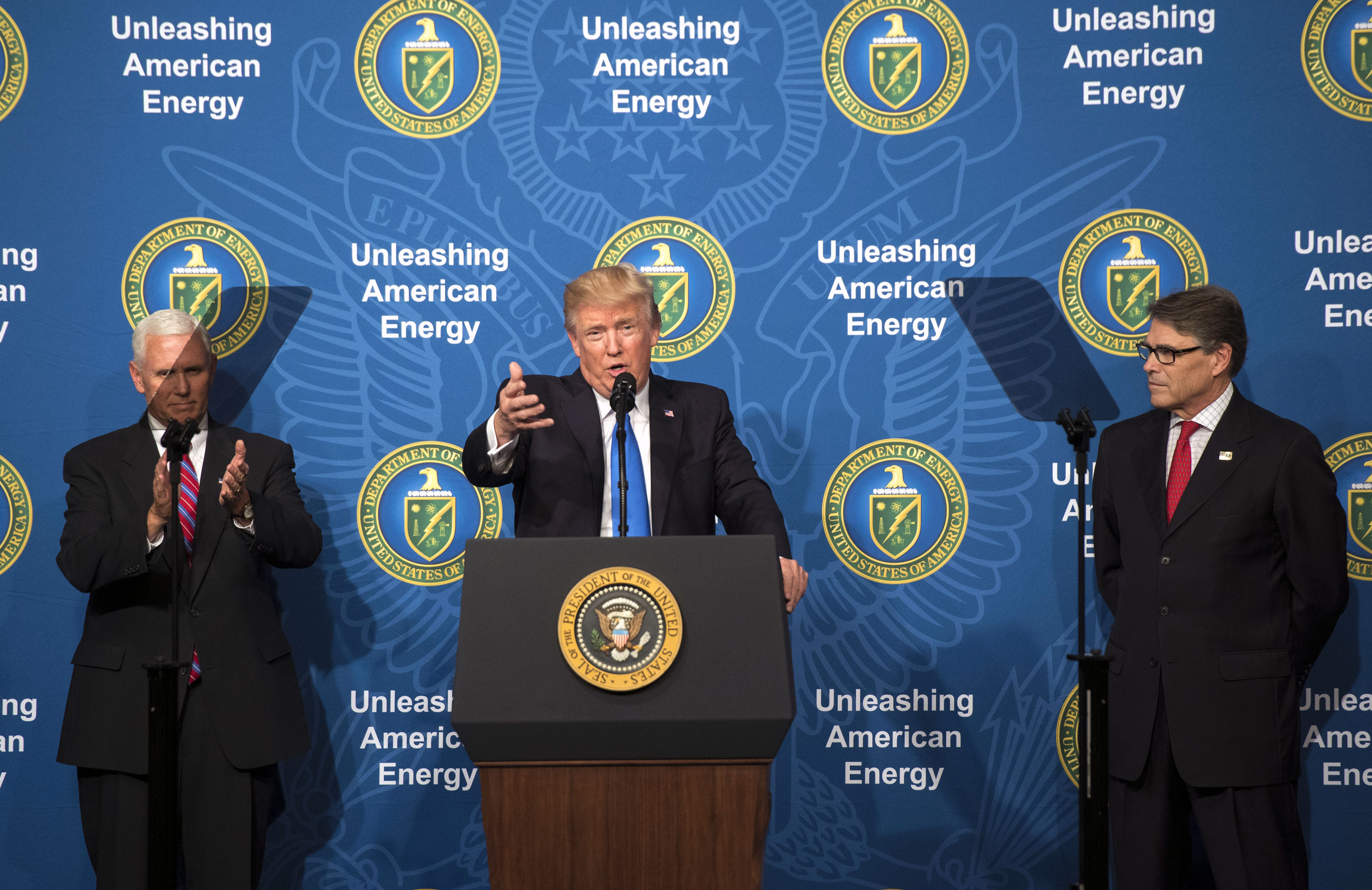 U.S. President Donald Trump, joined by Vice President Mike Pence and Energy Secretary Rick Perry, delivers remarks at the Unleashing American Energy event at the Department of Energy on June 29, 2017 in Washington, DC.