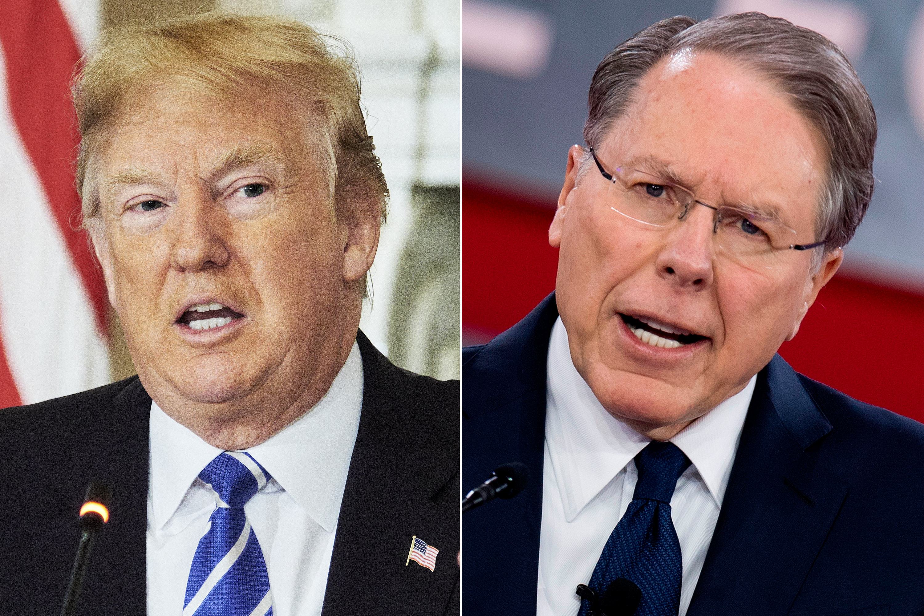 (L) President Donald Trump speaks during an infrastructure initiative meeting at the State Dining Room of the White House in Washington, D.C., on Monday, Feb. 12, 2018. (R) The National Rifle Association's (NRA) Executive Vice President and CEO Wayne LaPierre speaks during the 2018 Conservative Political Action Conference at National Harbor in Oxen Hill, Maryland on February 22, 2018