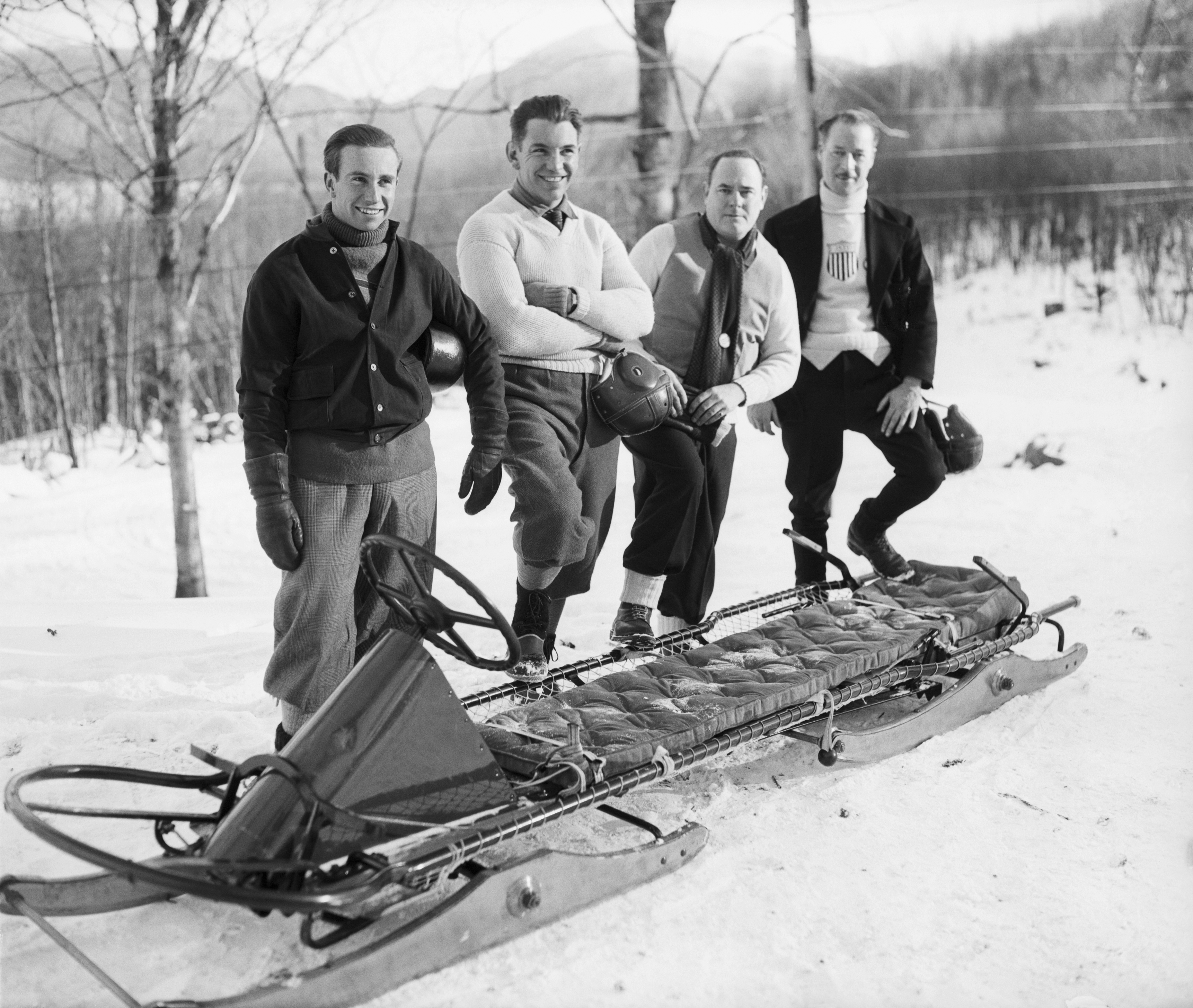 Fiske, Eddie Eagan, Clifford Gray and Jay O'Brien, who will compete in the 1932 Winter Olympics, also members of the 1928 Champion Team. Bettmann—Bettmann Archive