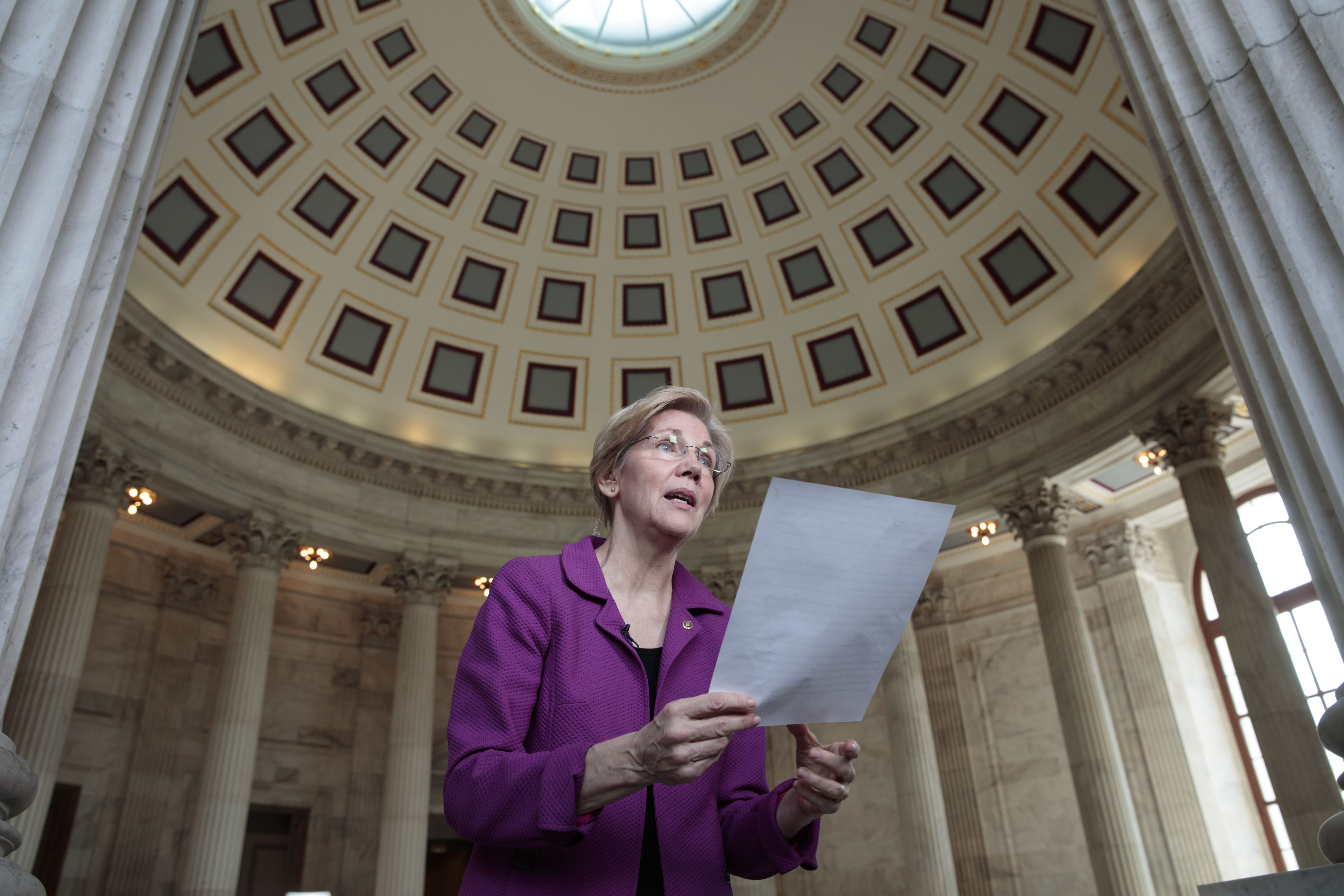 Holding a transcript of her speech in the Senate Chamber, Massachusetts Sen. Elizabeth Warren reacts to being rebuked by Senate leadership and accused of impugning a fellow senator, Attorney General-designate, Alabama Sen. Jeff Sessions, on Capitol Hill in Washington, D.C. on Feb. 8, 2017.