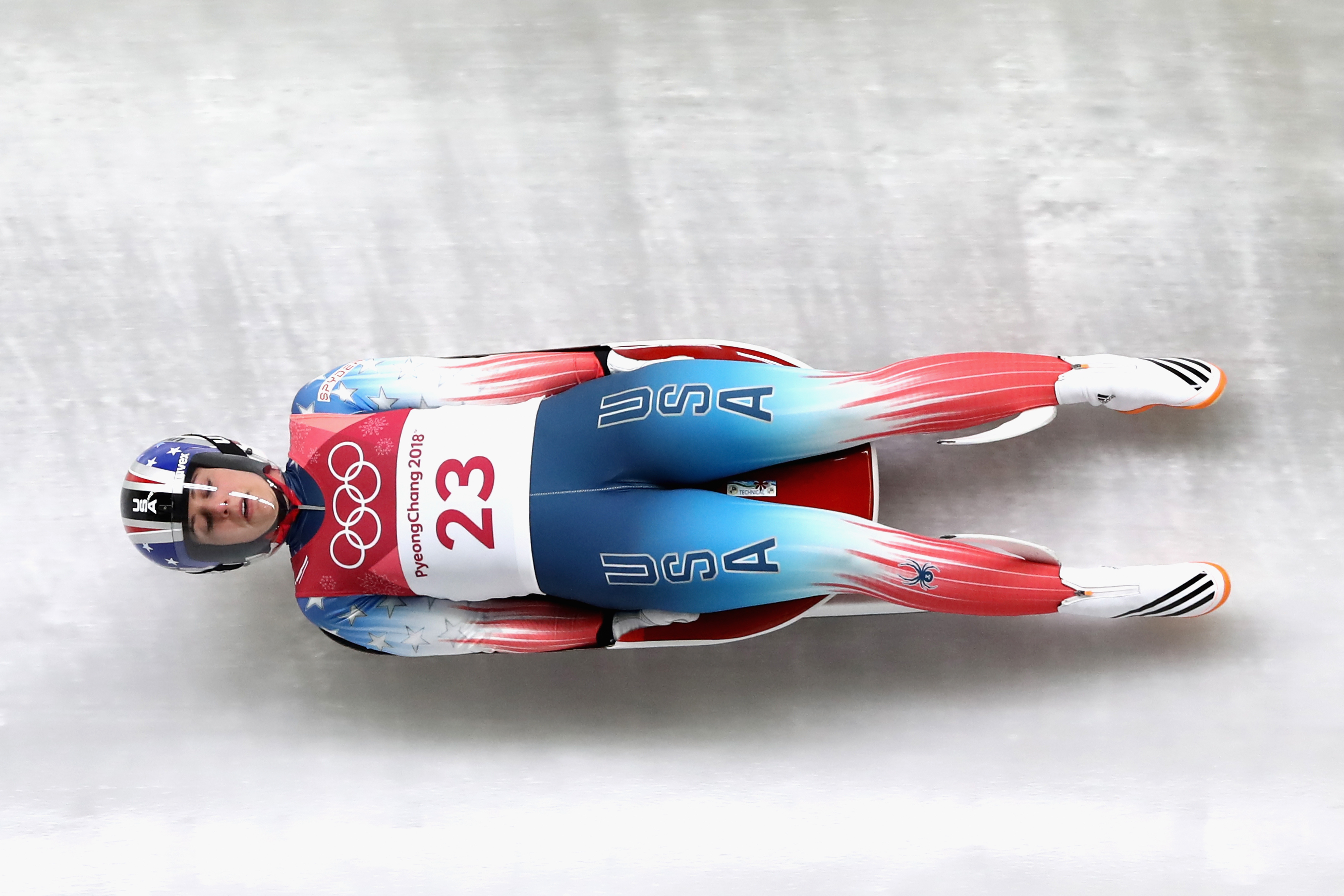 Emily Sweeney of USA slides during the Women's Singles Luge run 1 at Olympic Sliding Centre on February 12, 2018 in Pyeongchang-gun, South Korea.
