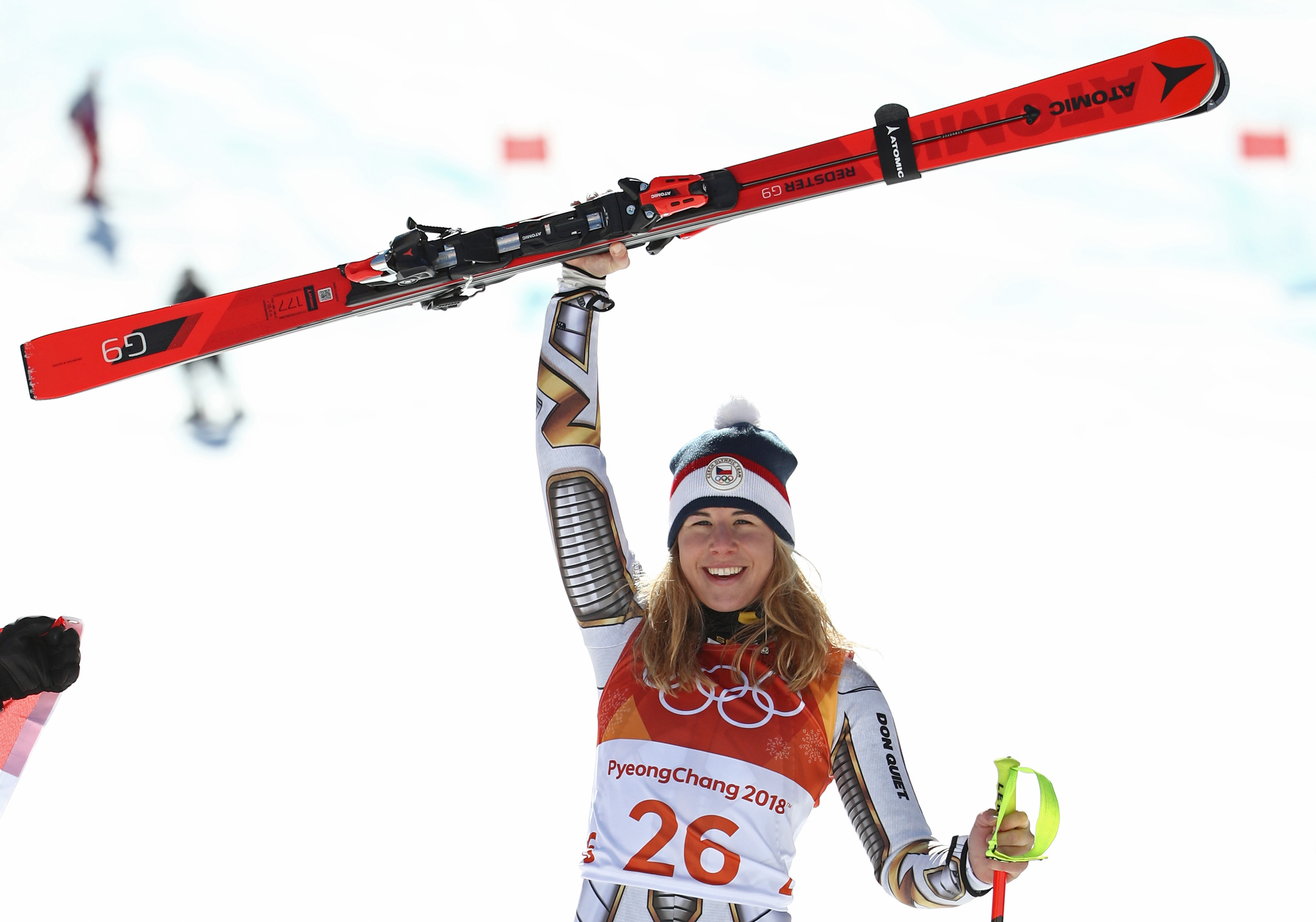 Gold medallist Ester Ledecka of the Czech Republic celebrates during the victory ceremony for the Alpine Skiing Ladies Super-G on day eight of the PyeongChang 2018 Winter Olympic Games at Jeongseon Alpine Centre on February 17, 2018 in Pyeongchang-gun, South Korea.