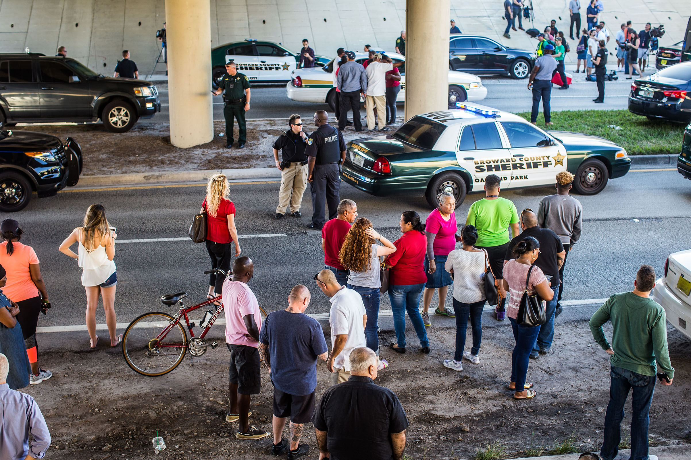 The FBI and police agencies from surrounding counties responded to a mass shooting at Marjory Stoneman Douglas High in Parkland, Fla on Feb. 14, 2018