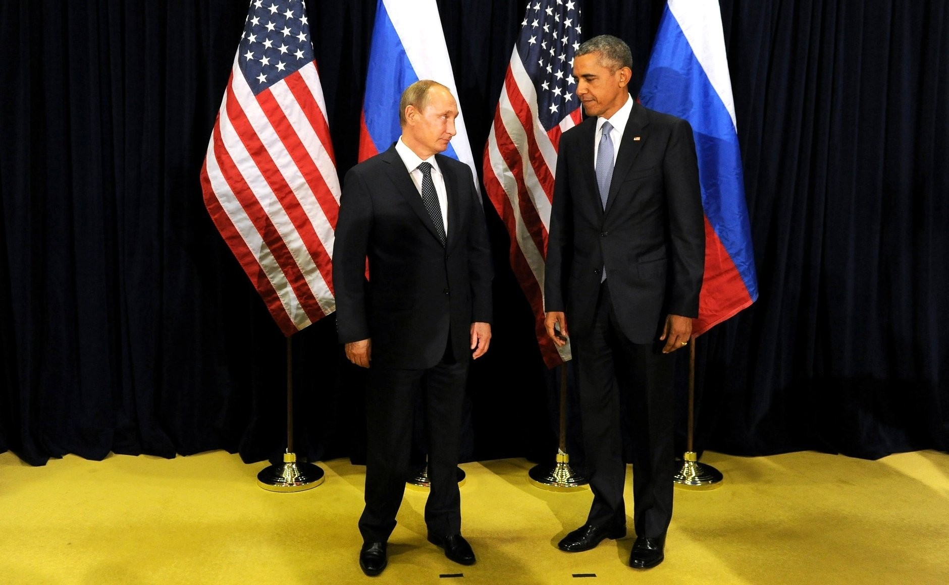 Russia's President Vladimir Putin (L) and then U.S. President Barack Obama met after the 70th session of the United Nations General Assembly in New York on Sept. 28, 2015