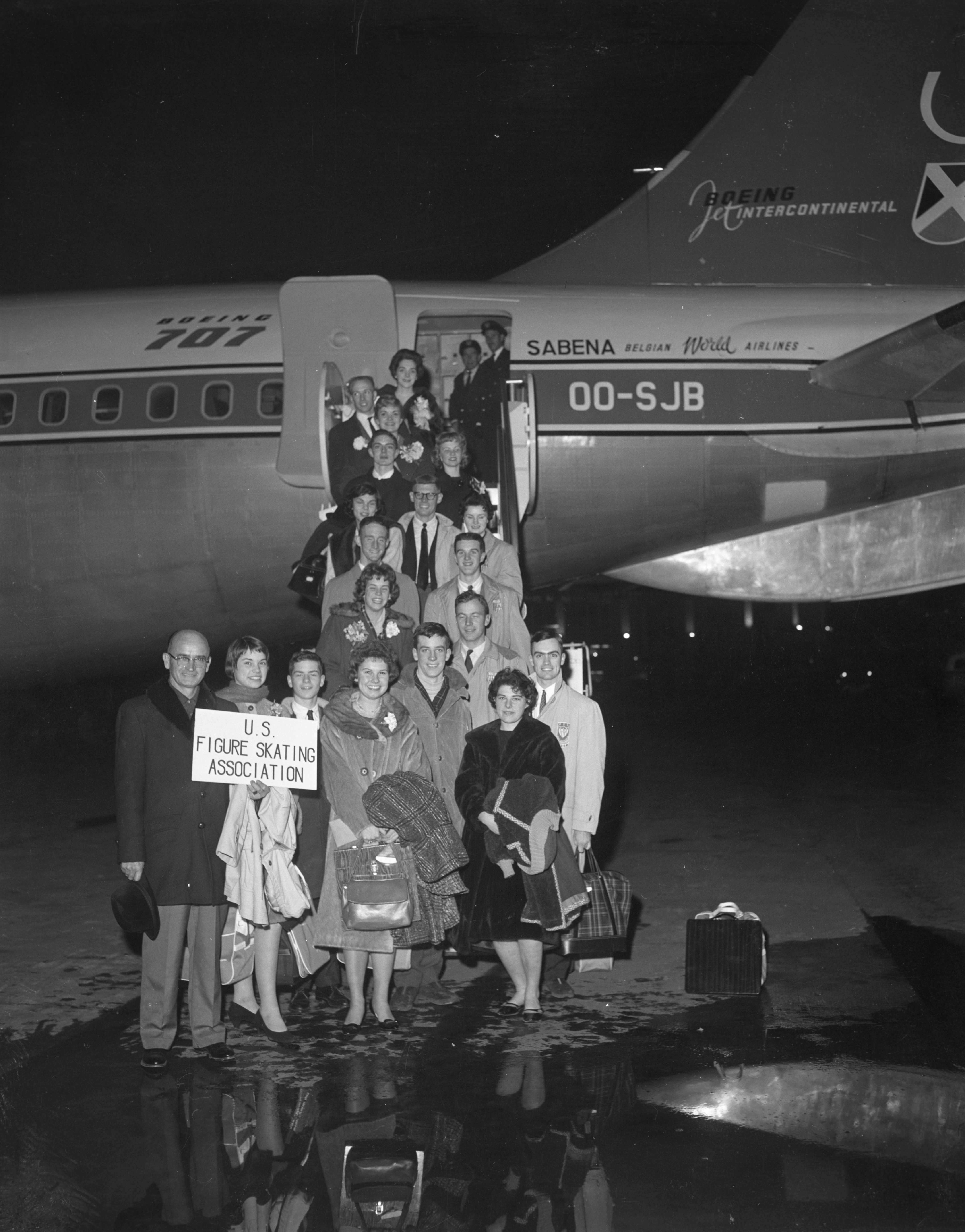The 18 members of the U.S. figure skating team are shown as they boarded the ill-fated Belgian airliner here, February 14th, for a flight to Brussels.