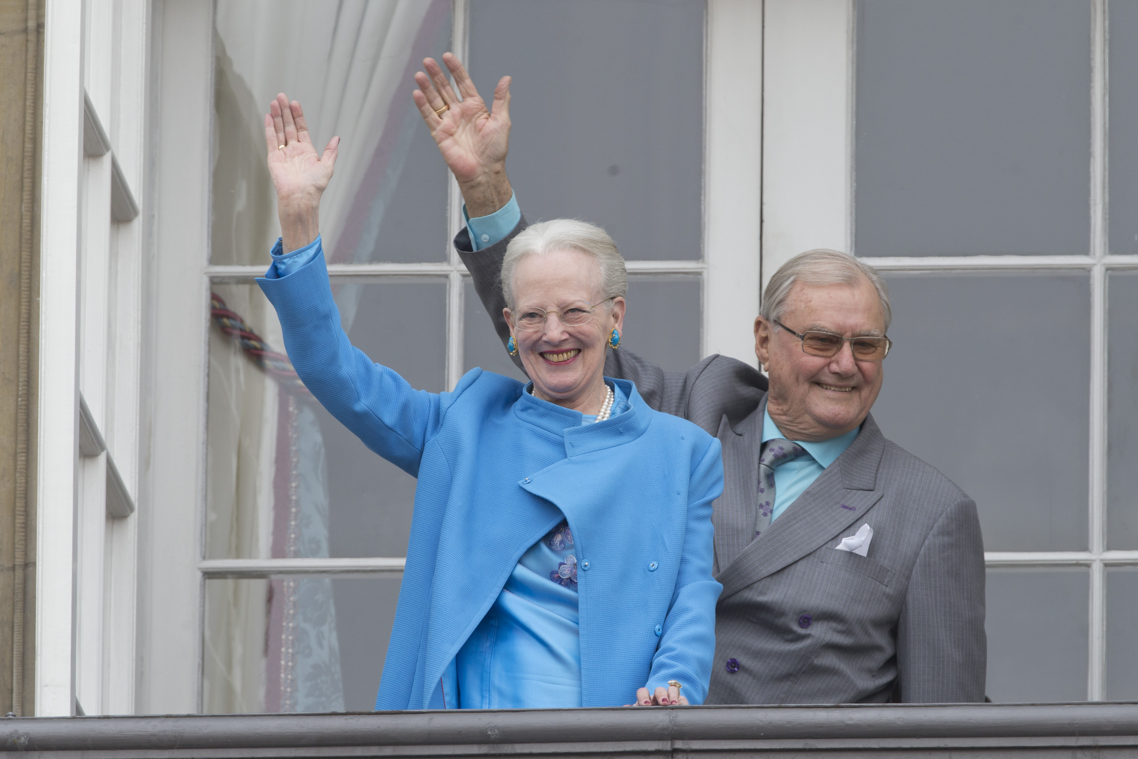 Queen Margrethe II of Denmark and Prince Henrik of Denmark attend Queen Margrethe's 76th Birthday Celebration at Amalienborg Palace on April 16, 2016.