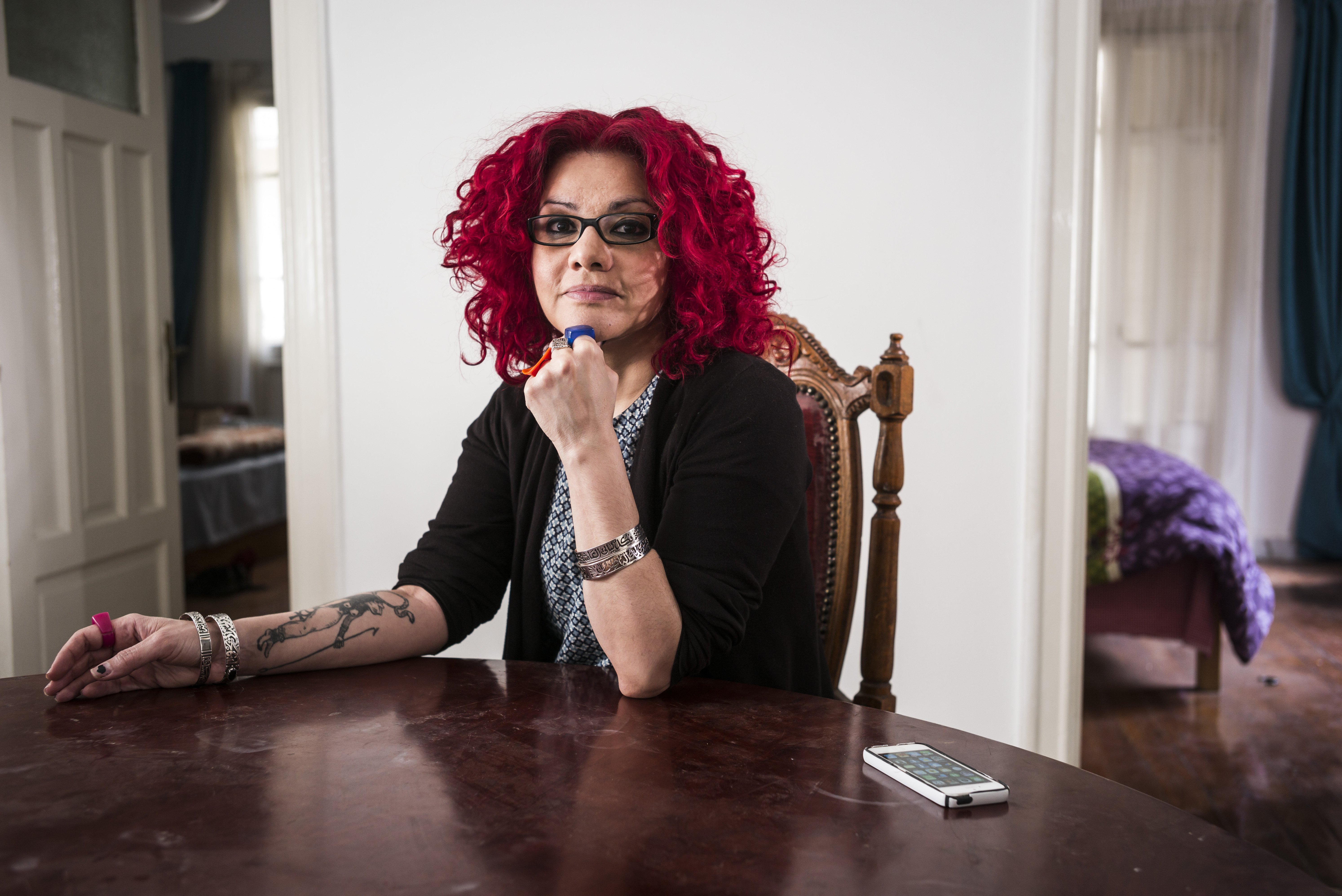 Mona Eltahawy is photographed in her home on April 12, 2015 in Cairo, Egypt.