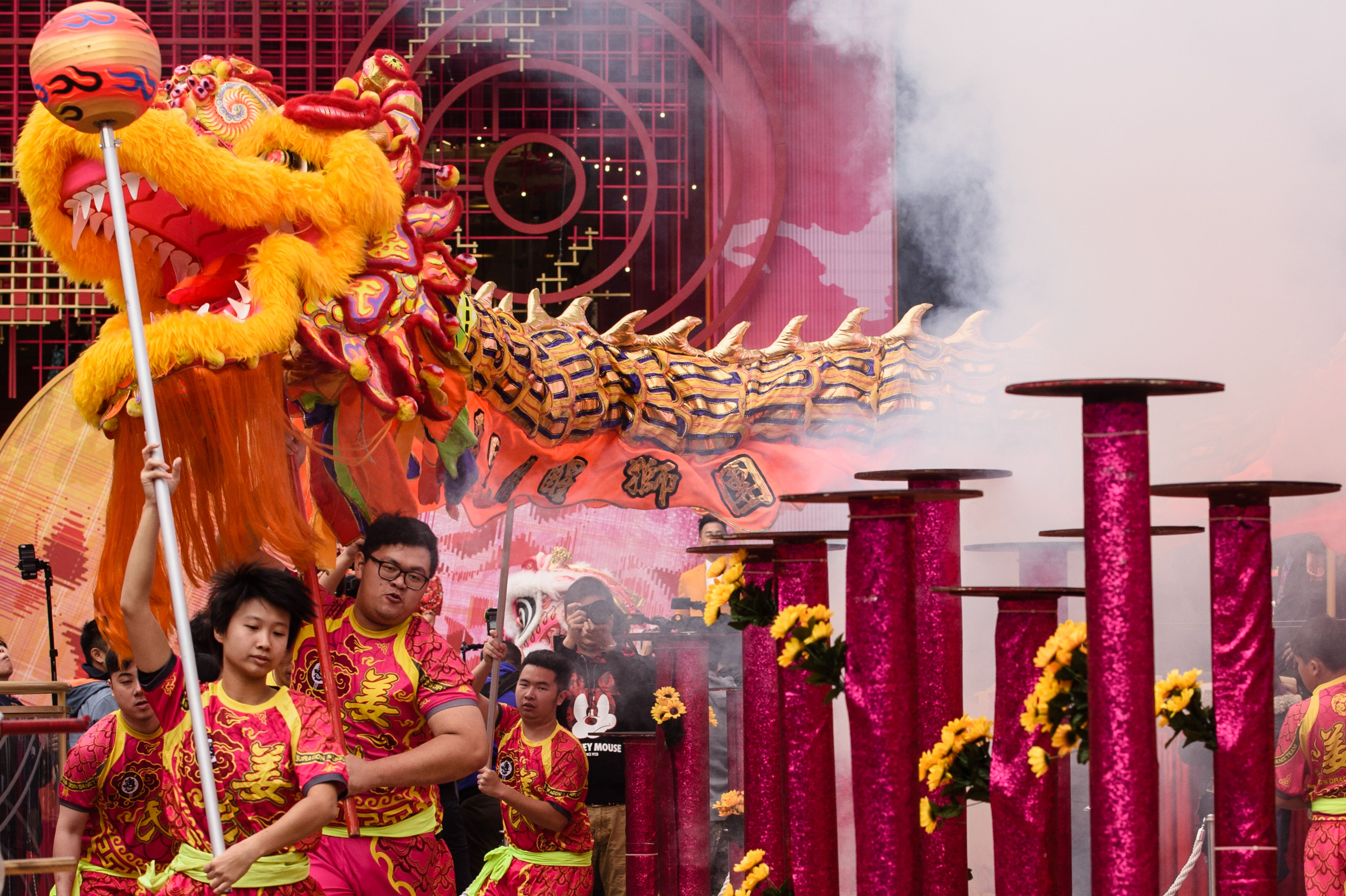 Performers take part in a lion dance show as part of the Lunar New Year celebrations in Hong Kong on Jan. 31, 2017.