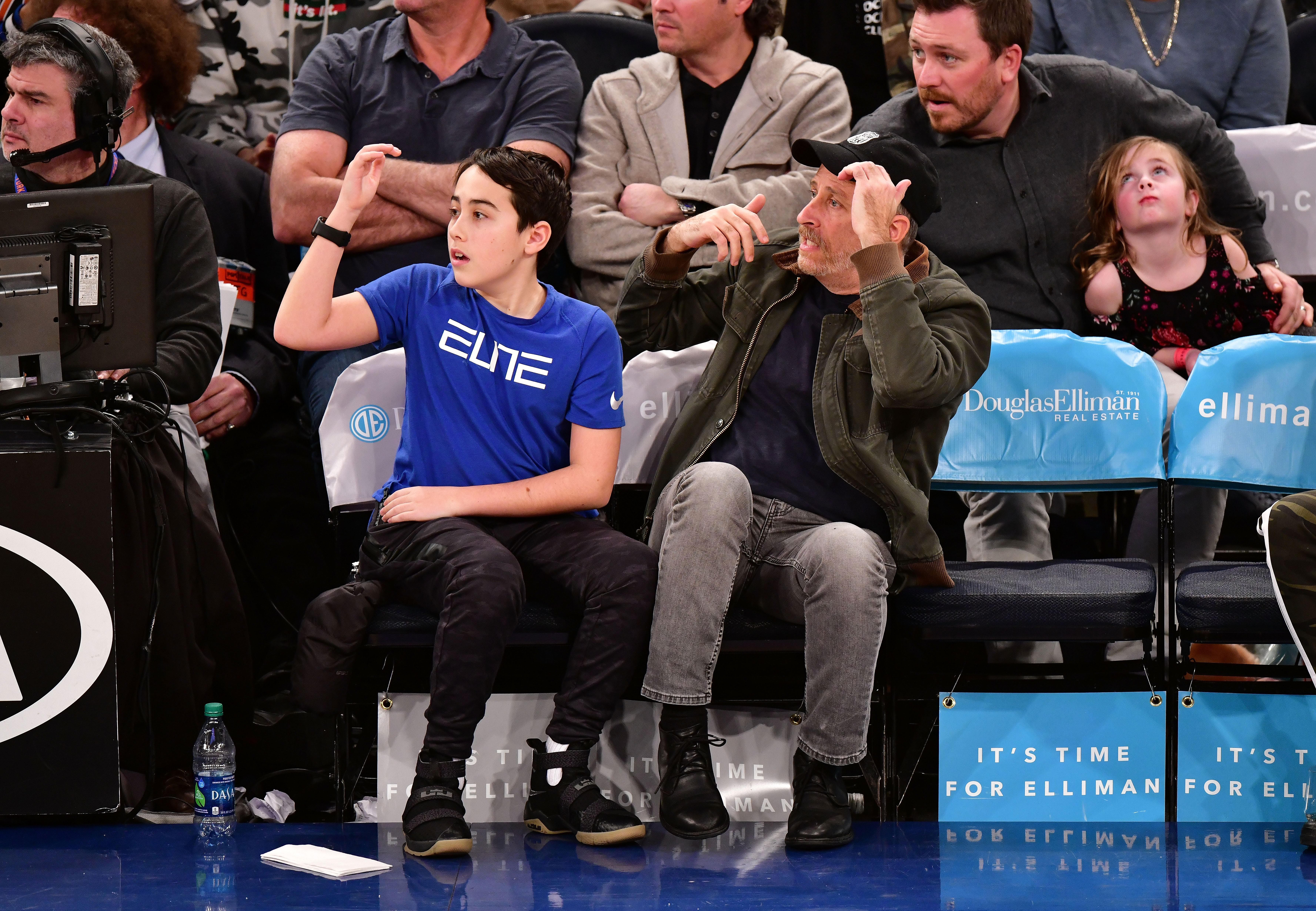 NEW YORK, NY - JANUARY 14:  Nathan Stewart and Jon Stewart attend the New York Knicks Vs New Orleans Pelicans game at Madison Square Garden on January 14, 2018 in New York City.  (Photo by James Devaney/Getty Images)