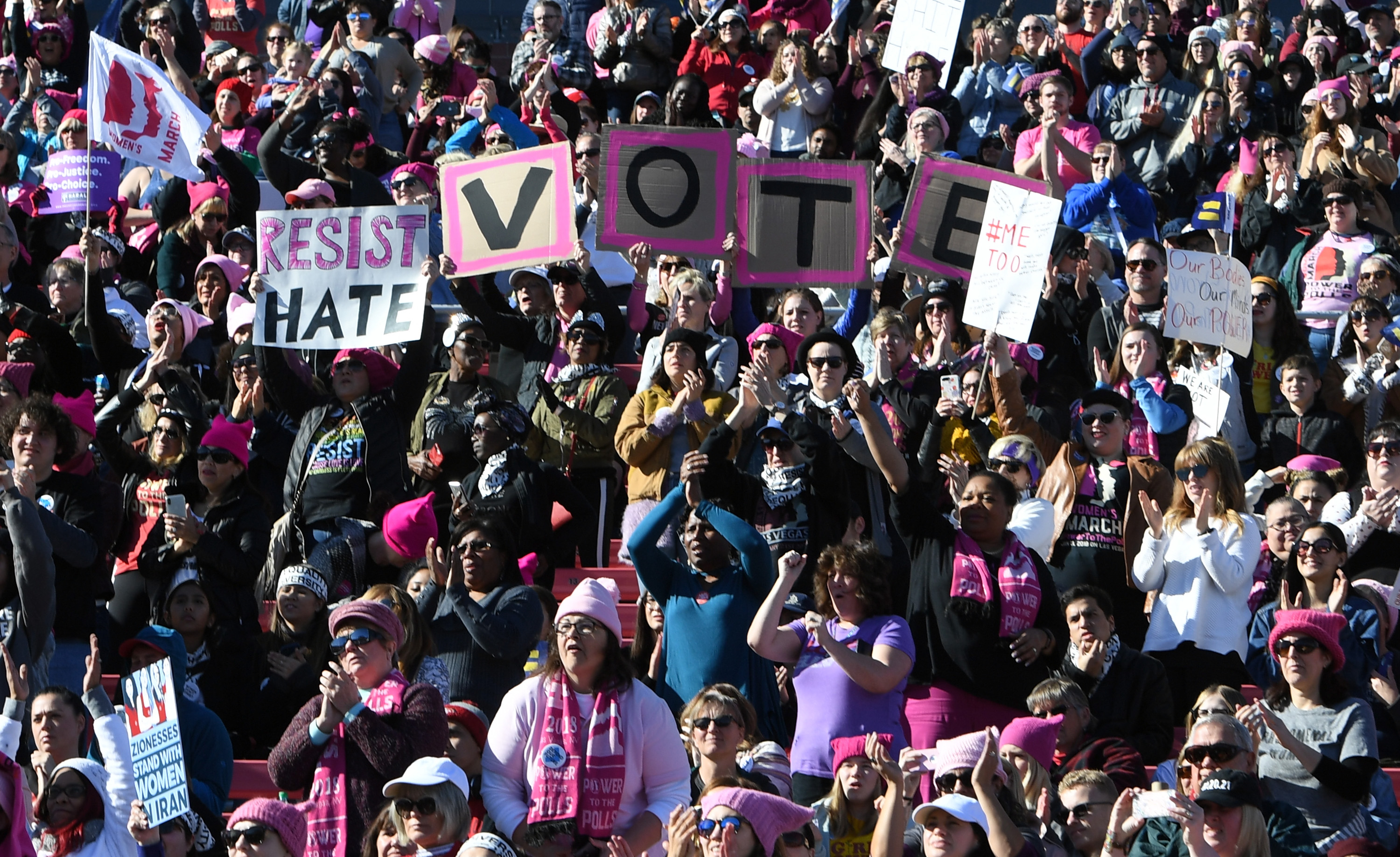 Demonstrators attend the Women's March  Power to the Polls  voter registration tour launch at Sam Boyd Stadium on January 21, 2018 in Las Vegas, Nevada.