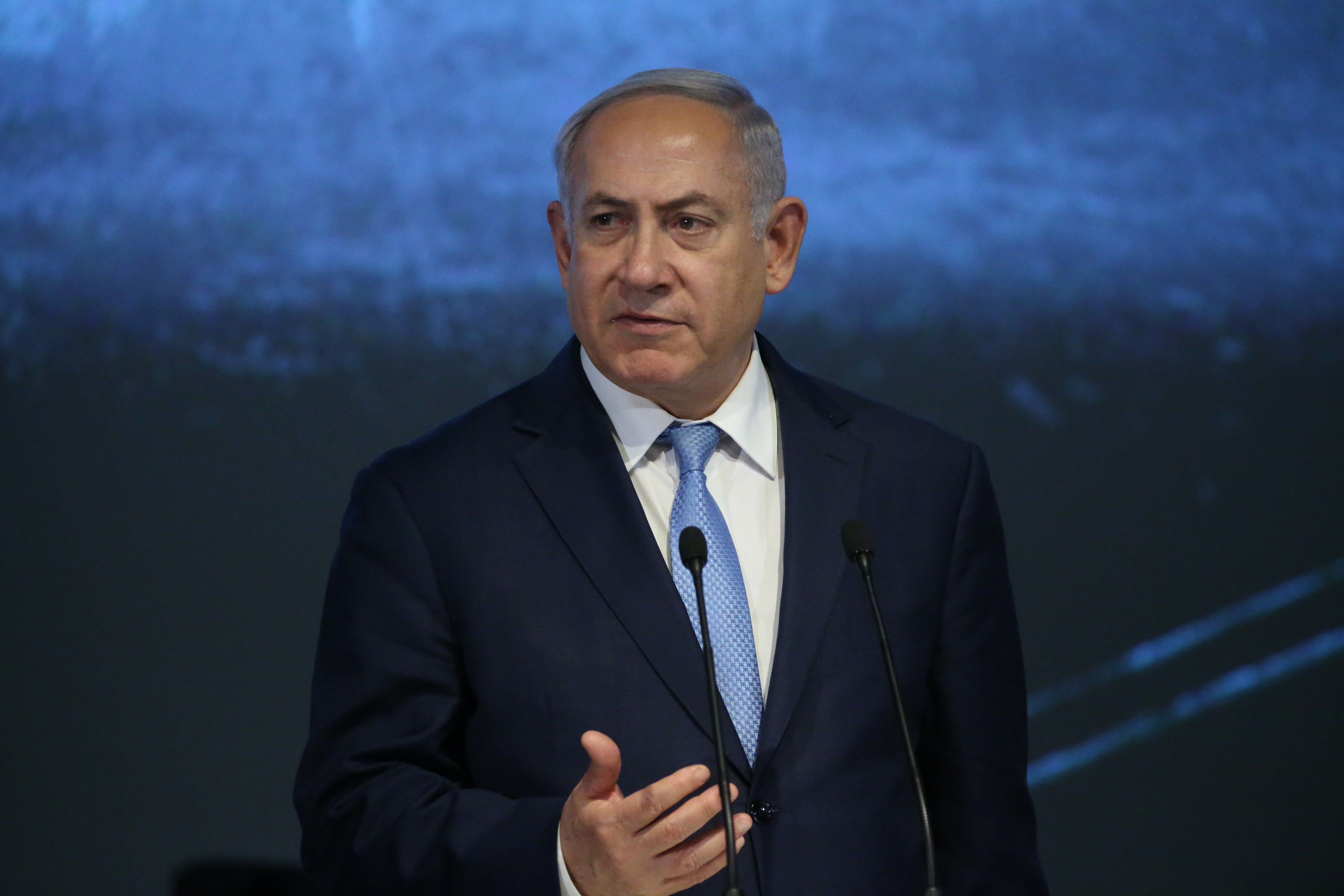 Israeli Prime Minister Benjamin Netanyahu speaks during a meeting at Moscow's Jewish Center on Jan. 29, 2018.