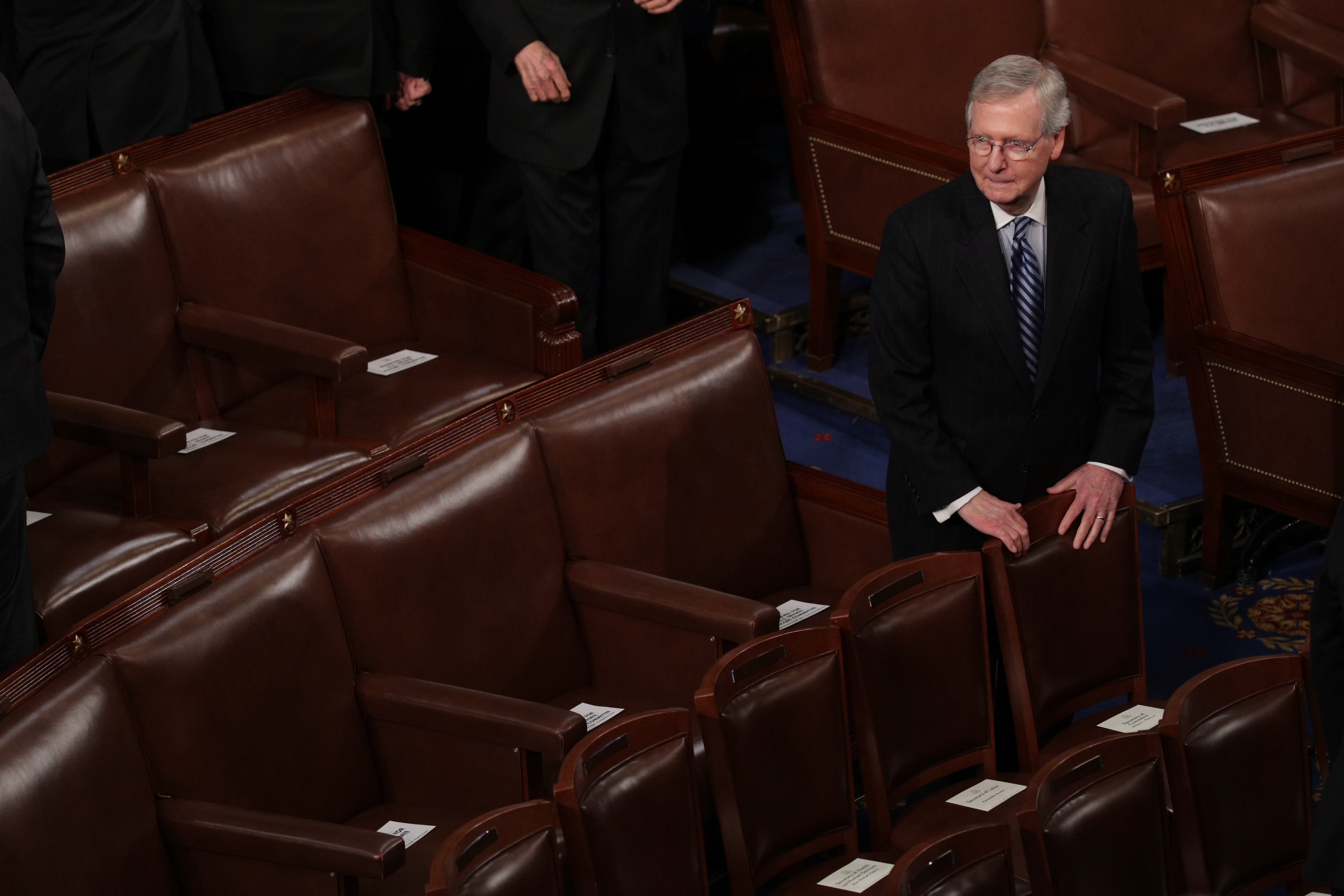 U.S. Senate Majority Leader Sen. Mitch McConnell (R-KY) waits for the start of the State of the Union address in the chamber of the U.S. House of Representatives January 30, 2018 in Washington, DC. This is the first State of the Union address given by U.S. President Donald Trump and his second joint-session address to Congress.