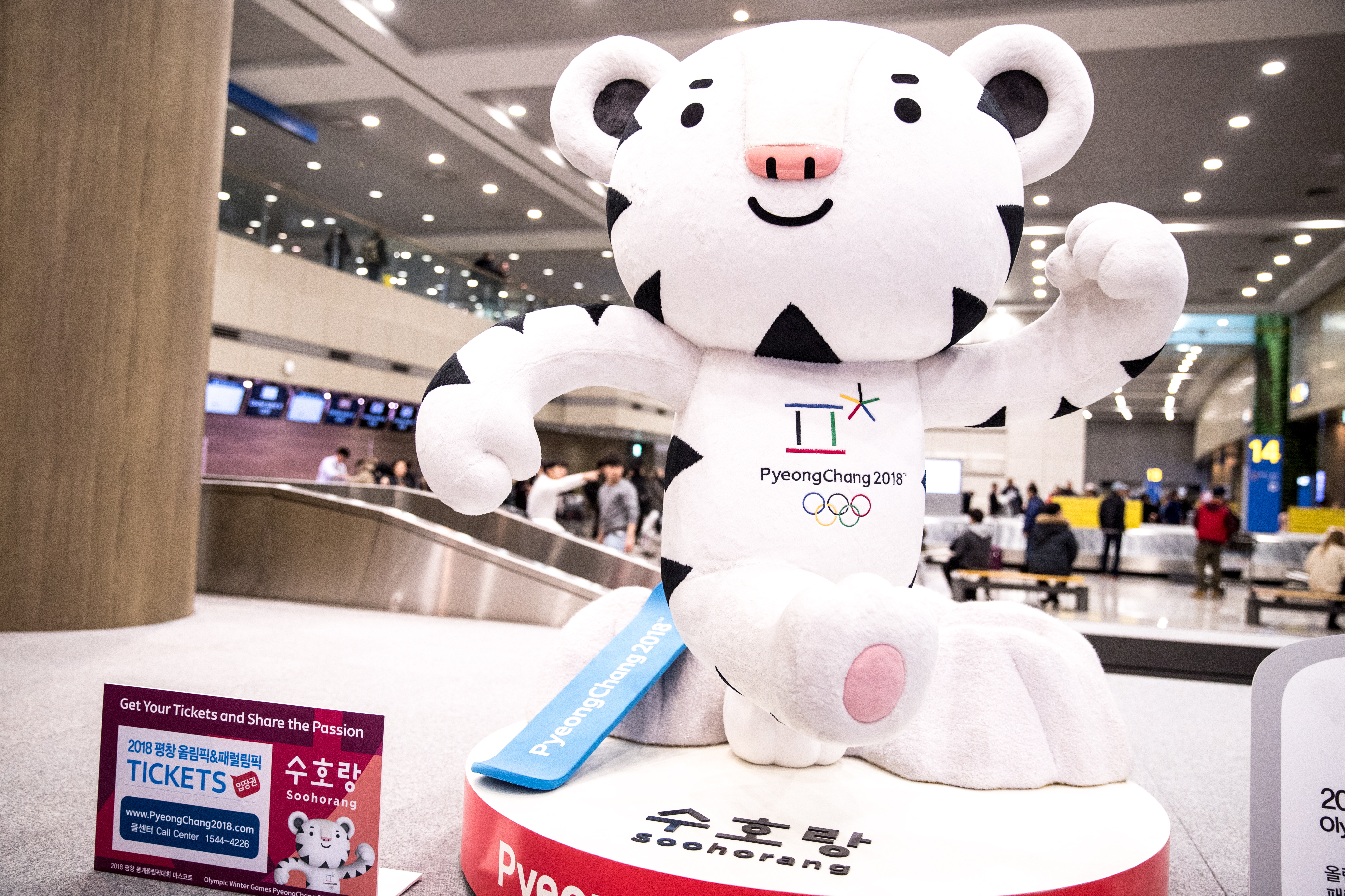Soohorang the Tiger, an official mascot of the 23rd Olympic Winter Games in Pyeongchang, seen at Incheon International Airport in Seoul.