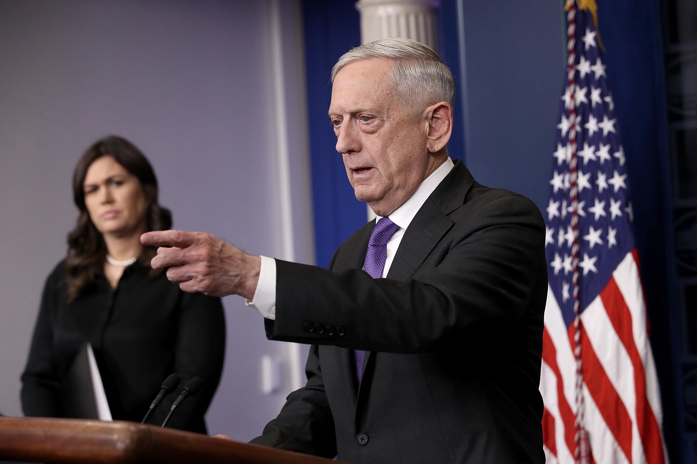 U.S. Secretary of Defense James Mattis at a White House press briefing on Feb. 7, 2018.