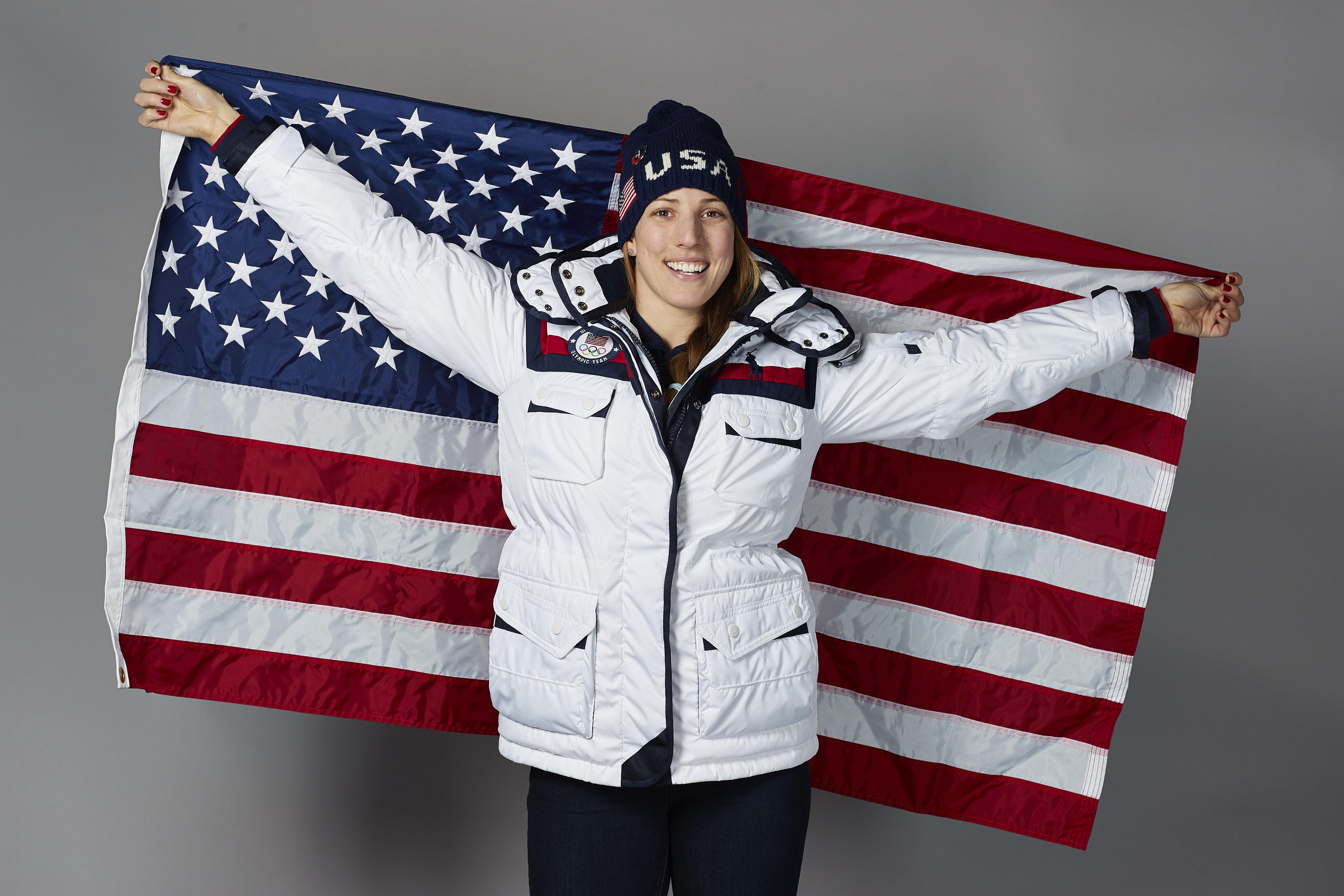 Team USA flag bearer Erin Hamlin poses for a photo on February 8, 2018 in Pyeongchang-gun, South Korea.