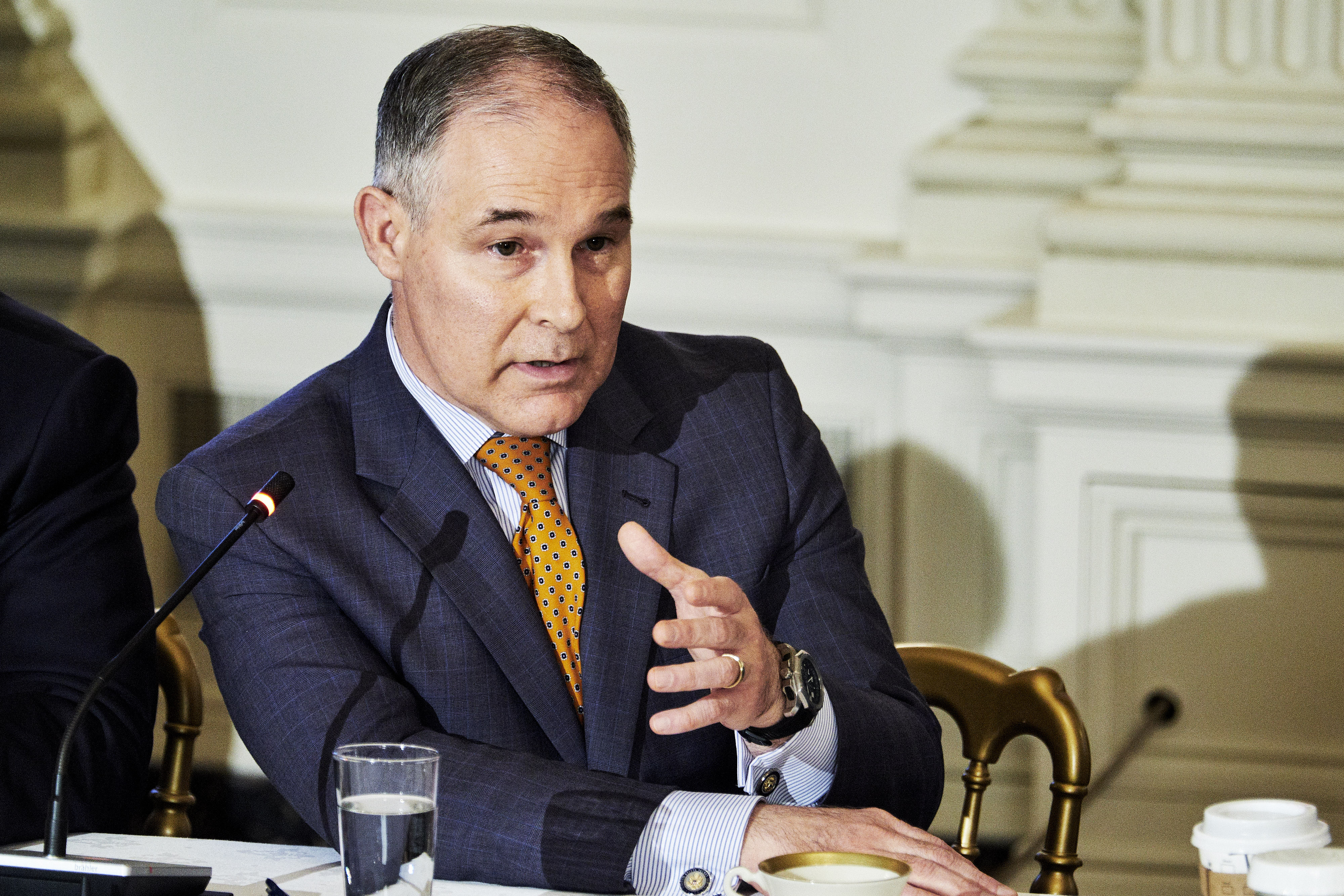 Scott Pruitt, administrator of the Environmental Protection Agency (EPA), speaks during an infrastructure initiative meeting with U.S. President Donald Trump, not pictured, at the State Dining Room of the White House in Washington, D.C., U.S., on Monday, Feb. 12, 2018.