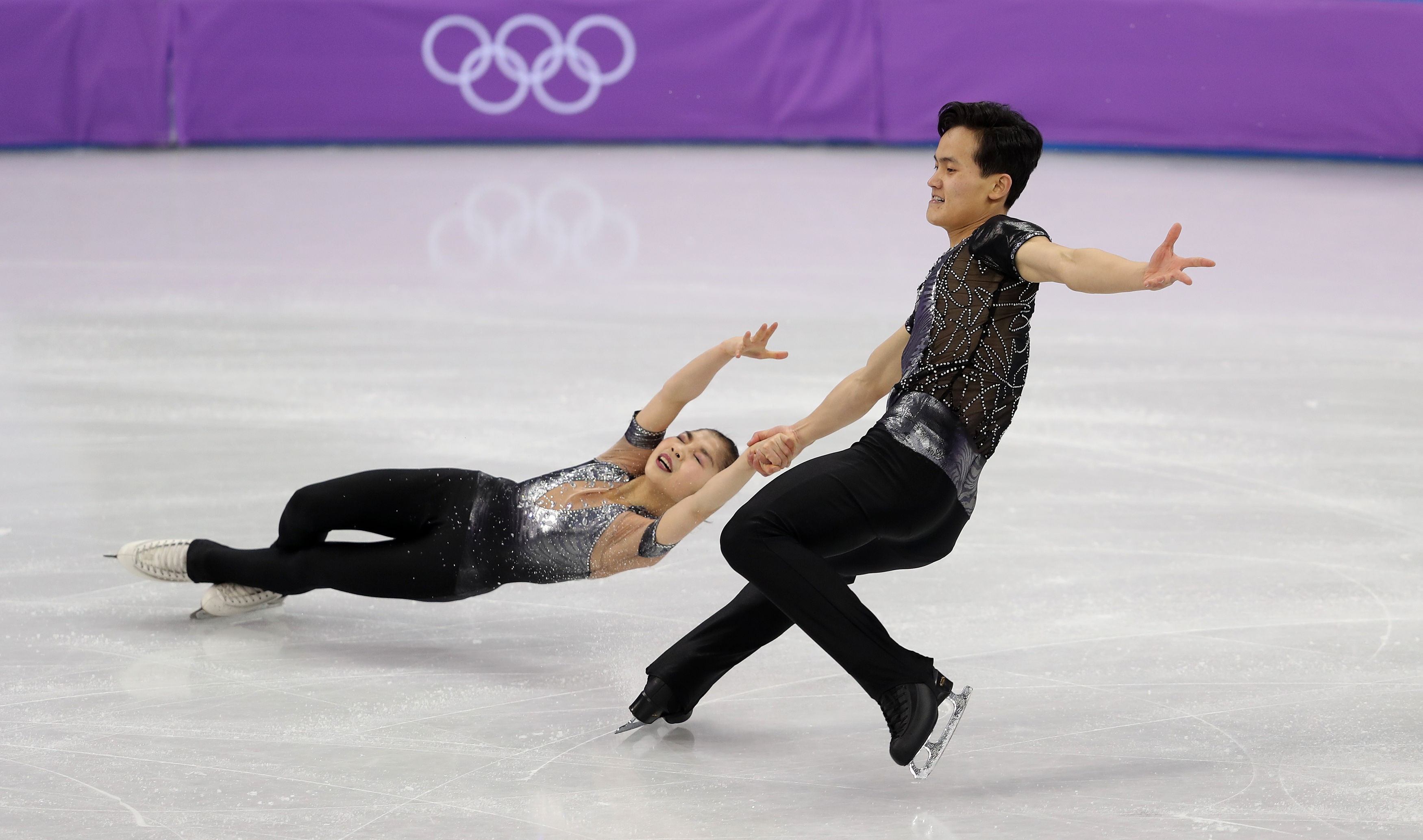 Tae Ok Ryom and Ju Sik Kim of North Korea in the Pairs Figures Skating at the Gangneung Ice Arena during day five of the PyeongChang 2018 Winter Olympic Games in South Korea.