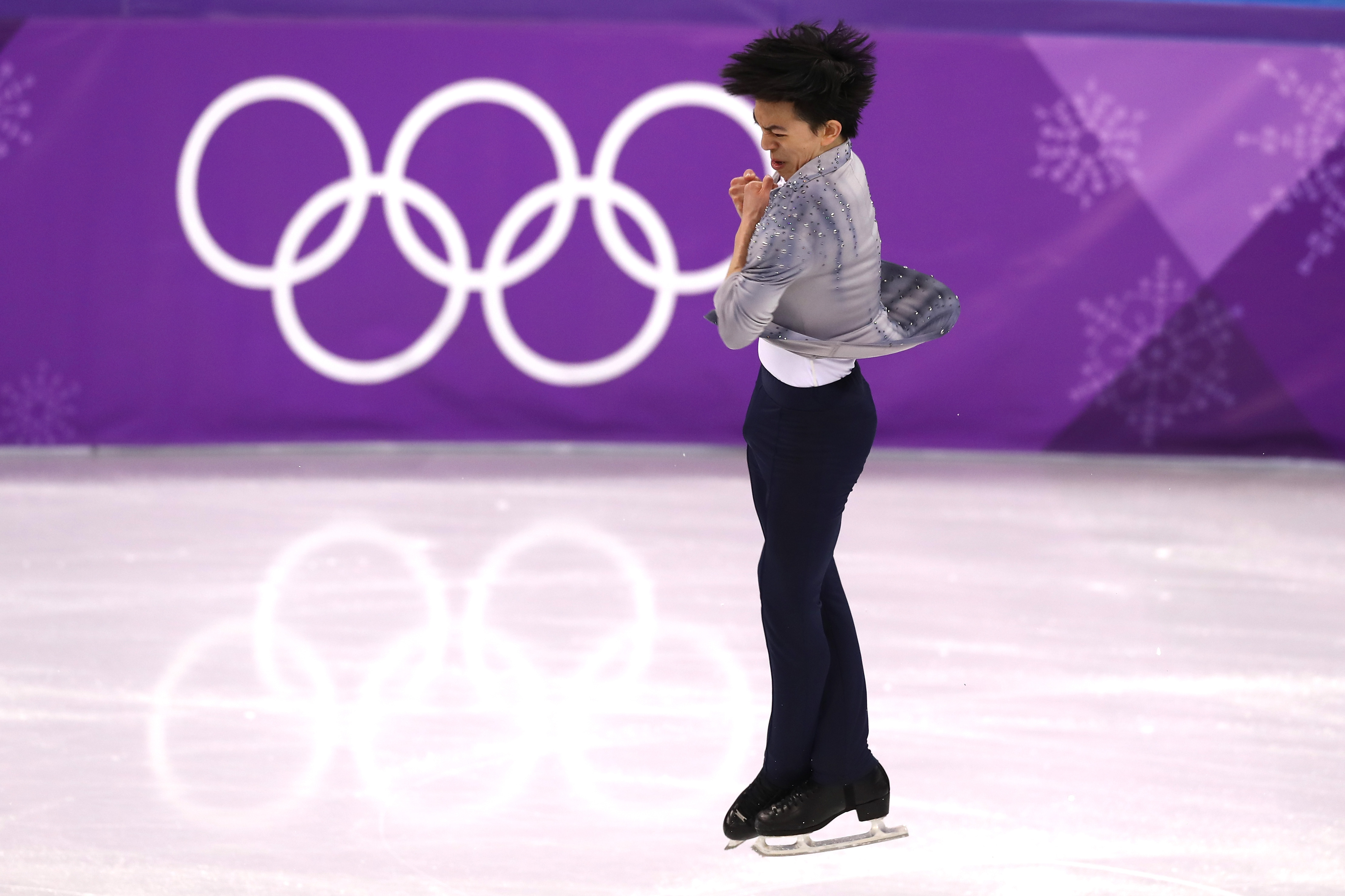 Vincent Zhou of the United States competes during the Men's Single Skating Short Program at Gangneung Ice Arena on Feb. 16, 2018 in Gangneung, South Korea.