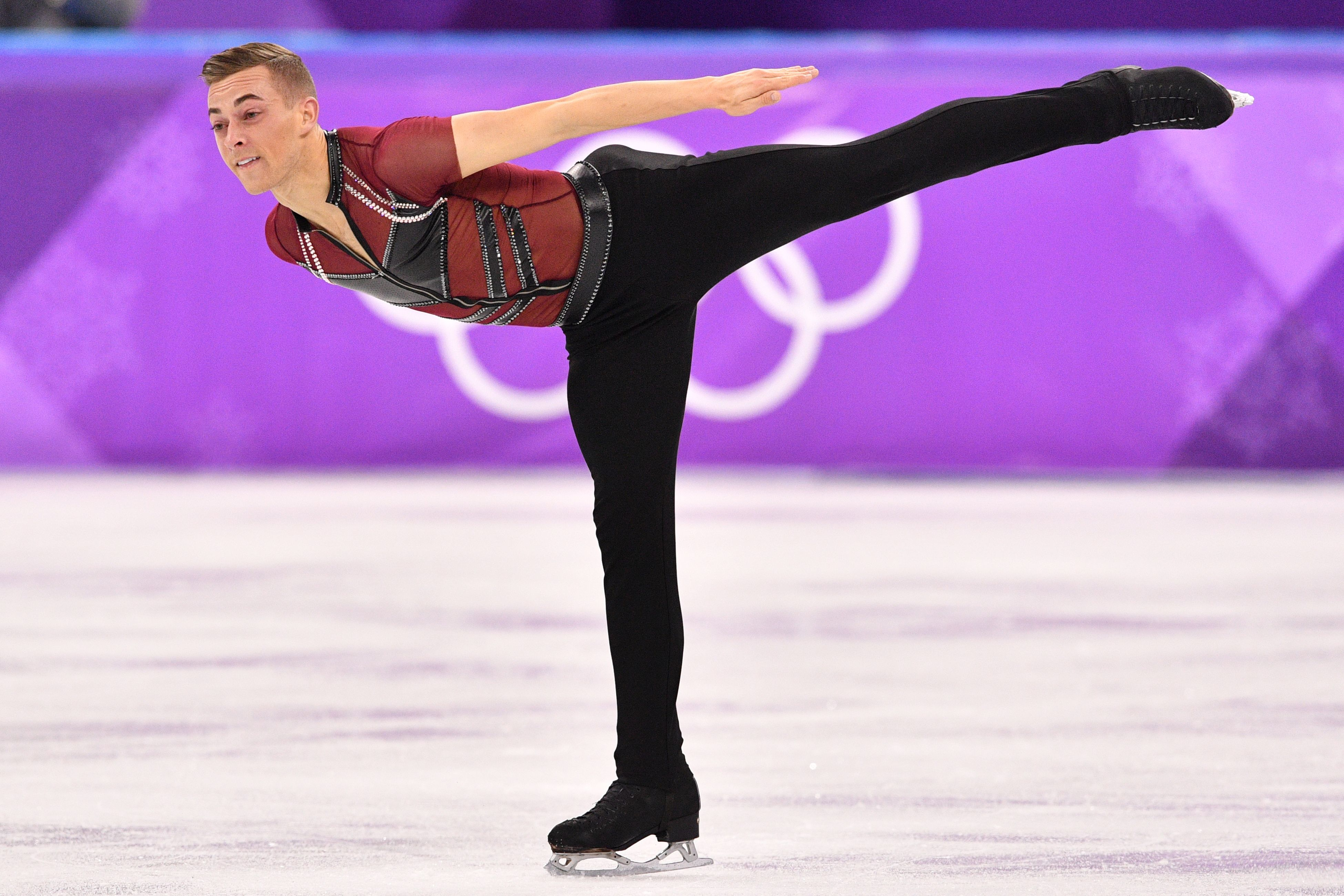 USA's Adam Rippon competes in the men's single skating short program of the figure skating event during the Pyeongchang 2018 Winter Olympic Games at the Gangneung Ice Arena in Gangneung on Feb. 16, 2018.