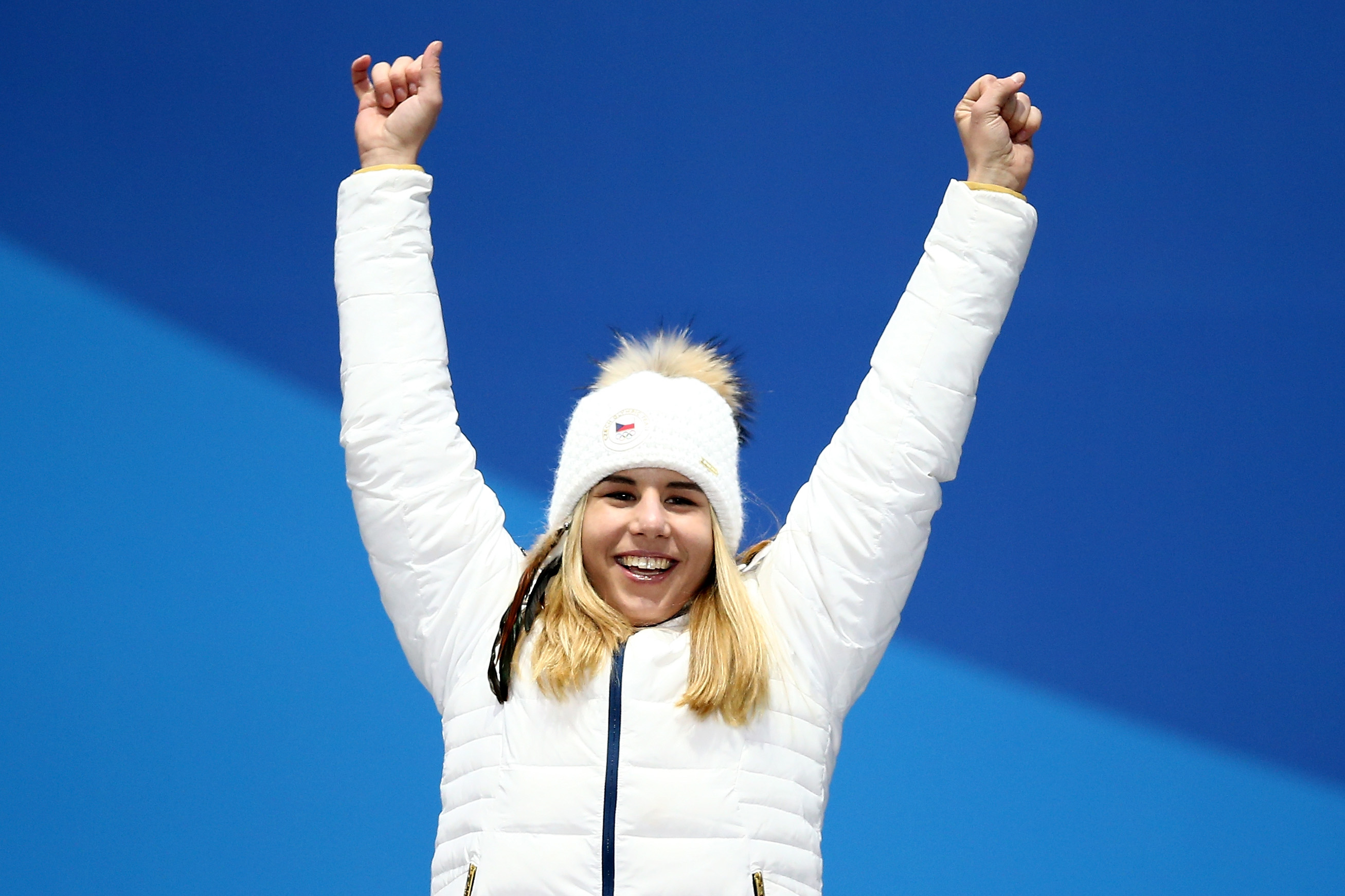 Gold medalist Ester Ledecka of Czech Republic celebrates during the medal ceremony for the Ladies' Alpine Skiing Super-G  on day eight of the PyeongChang 2018 Winter Olympic Games at Medal Plaza on February 17, 2018 in Pyeongchang-gun, South Korea.