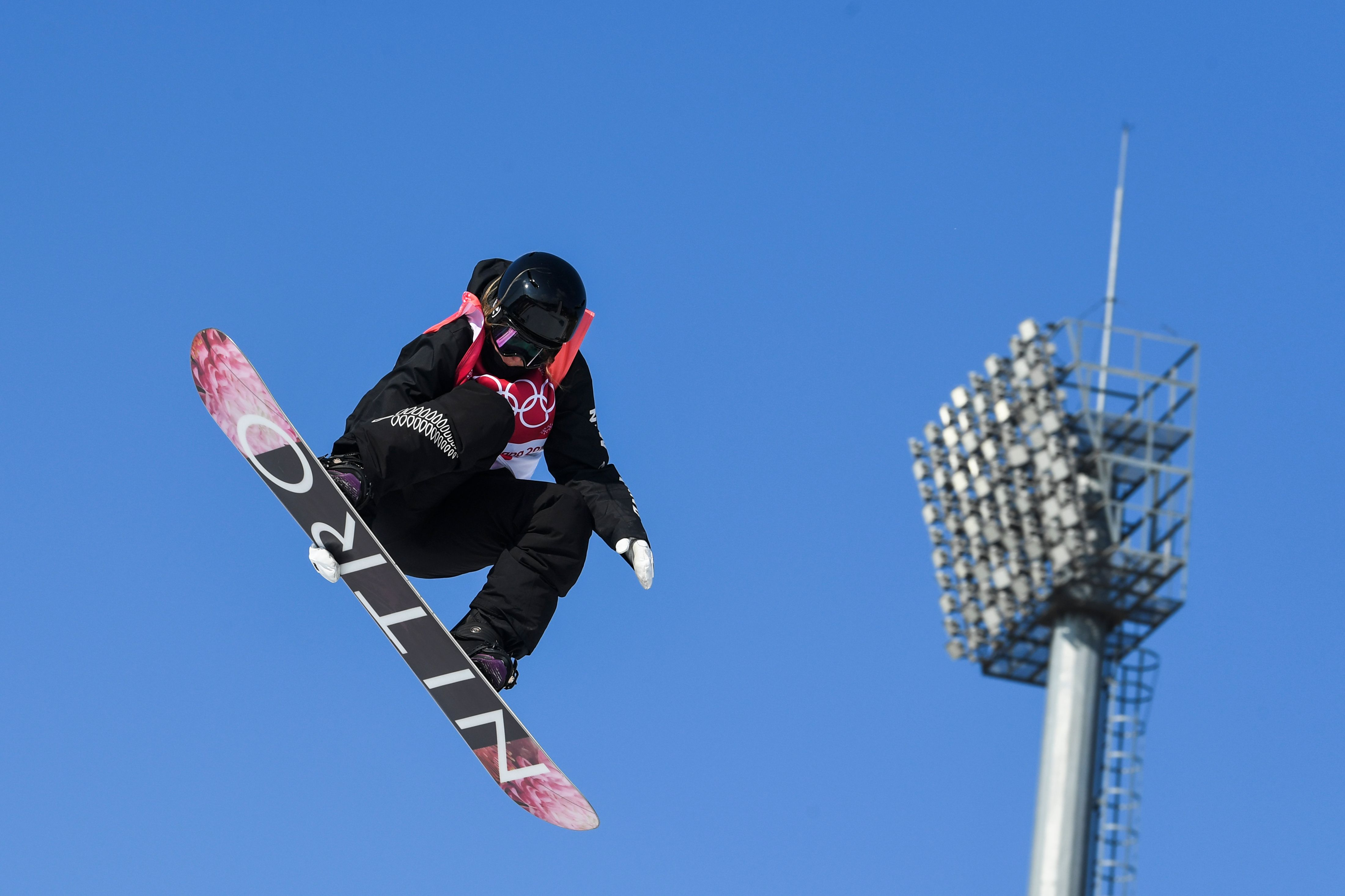 New Zealand's Zoi Sadowski Synnott competes during the women's snowboard big air final at the Pyeongchang 2018 Winter Olympic Games on Feb. 22, 2018.