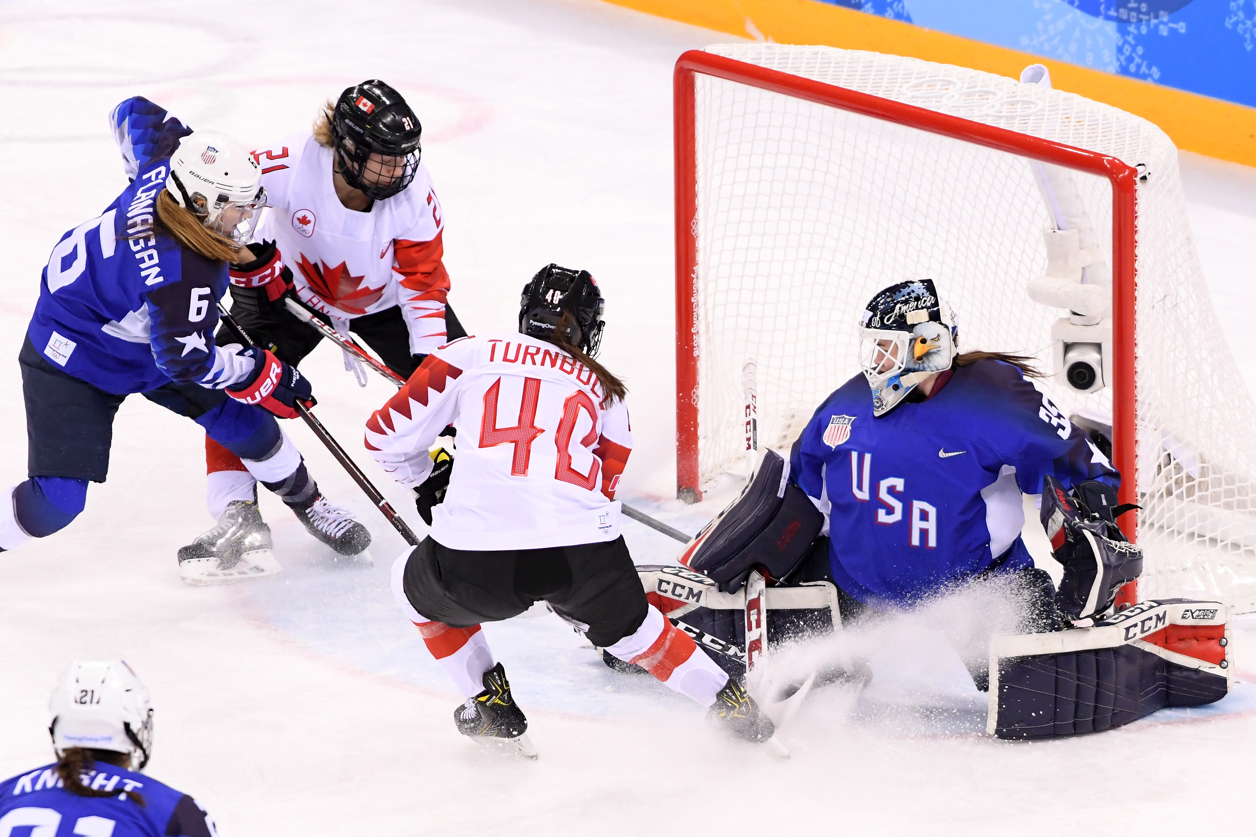 Madeline Rooney #35 of the United States tends goal against Blayre Turnbull #40 and Haley Irwin #21 of Canada in the first period during the Women's Gold Medal Game on day thirteen of the PyeongChang 2018 Winter Olympic Games at Gangneung Hockey Centre on February 22, 2018 in Gangneung, South Korea.