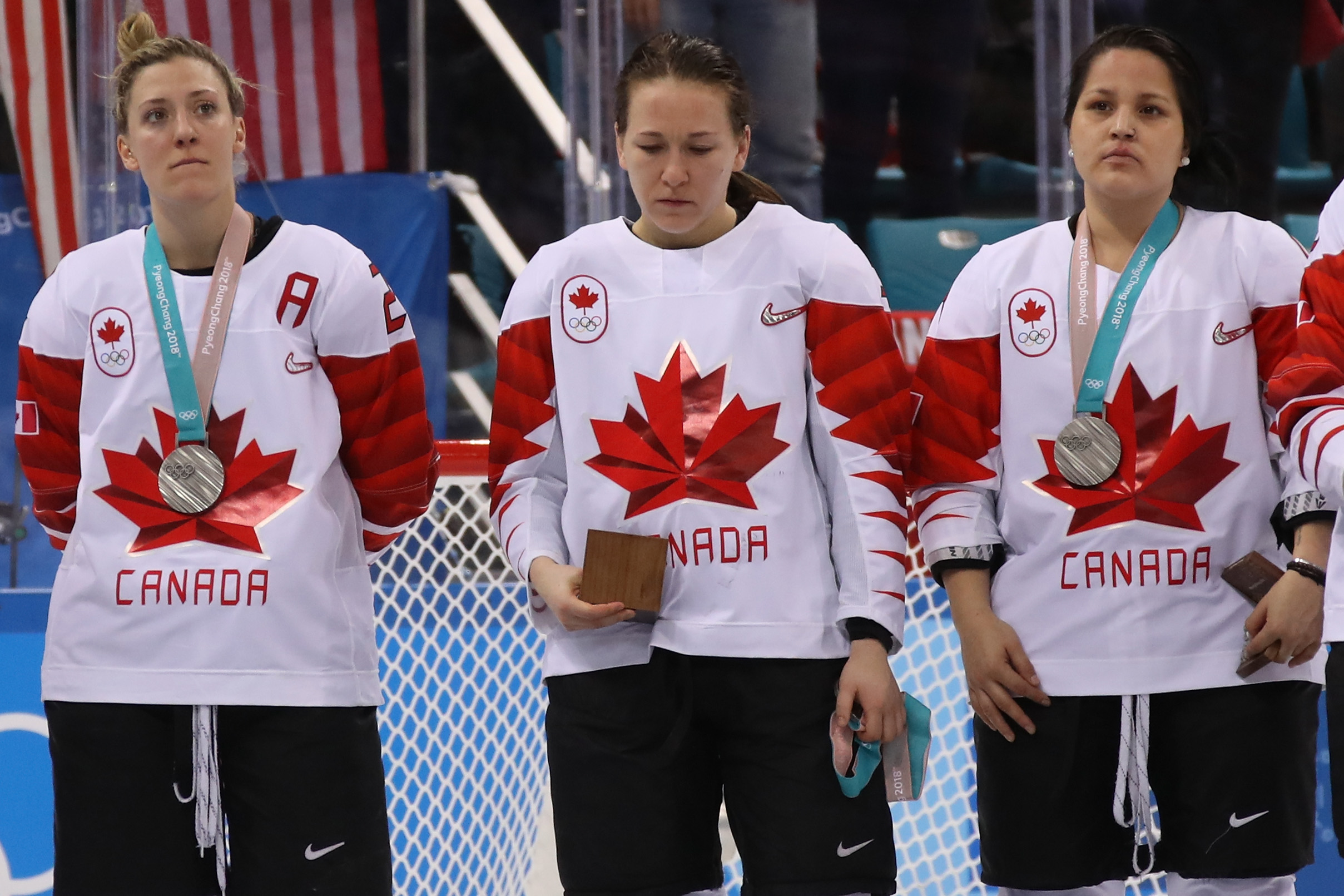 Jocelyne Larocque #3 of Canada refuses to wear her silver medal after losing to the United States in the Women's Gold Medal Game on day thirteen of the PyeongChang 2018 Winter Olympic Games at Gangneung Hockey Centre on February 22, 2018 in Gangneung, South Korea.  (Photo by Bruce Bennett/Getty Images)