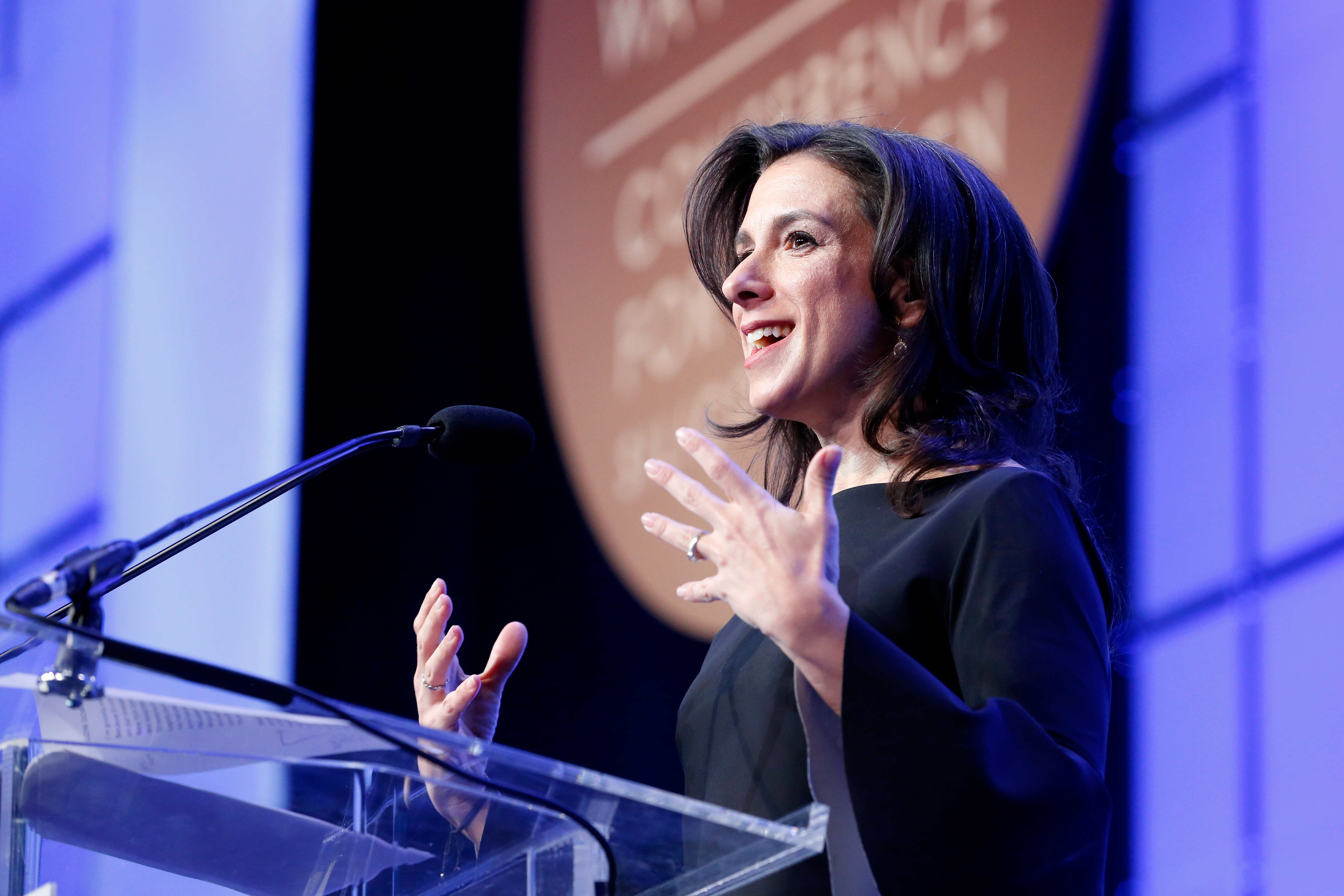 New York Times investigative reporter Jodi Kantor speaks onstage at the Watermark Conference for Women 2018 at San Jose Convention Center in San Jose, Calif., on Feb. 23, 2018.