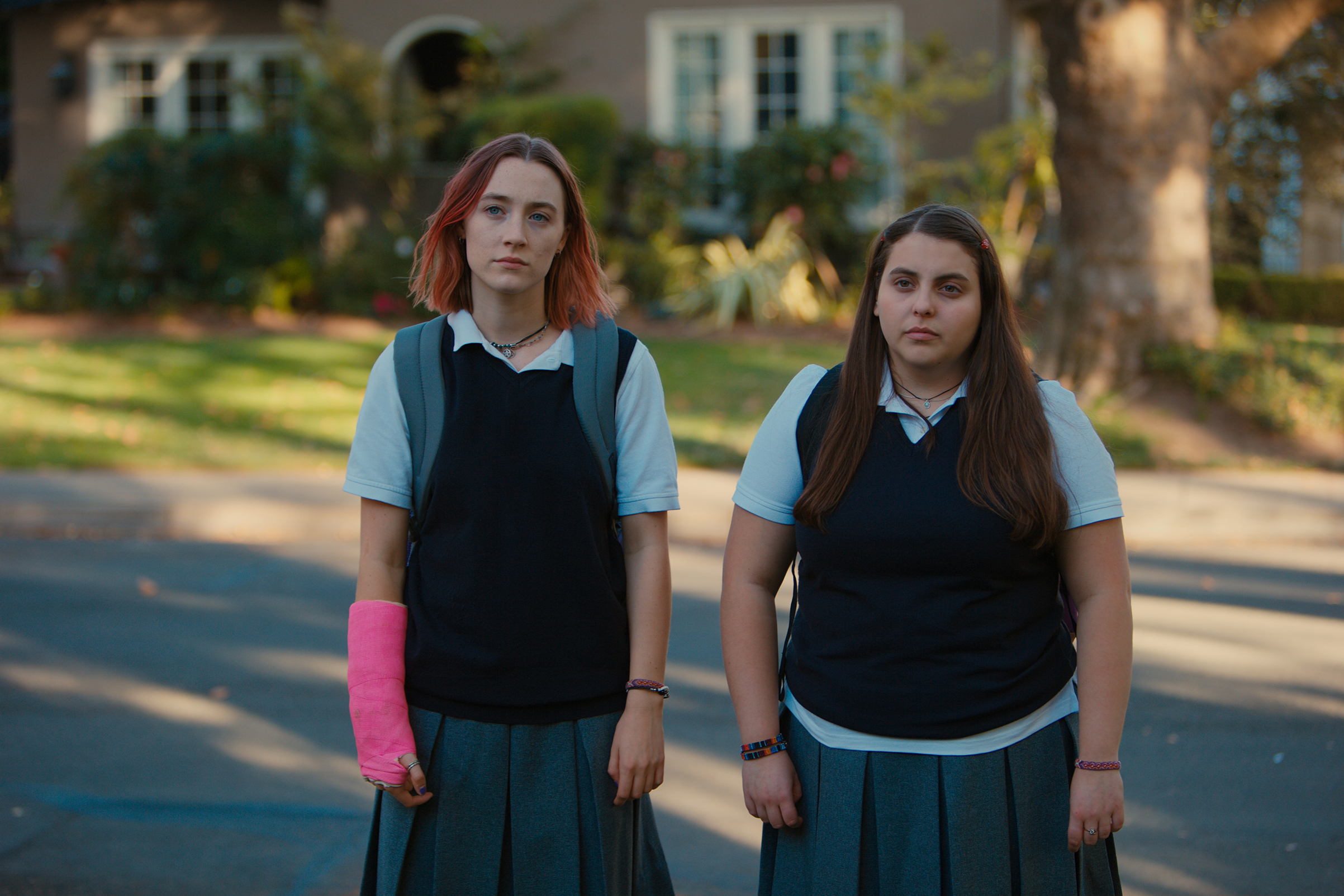 Lady Bird actors Saoirse Ronan, left, and Beanie Feldstein realistically portray a teenage friendship