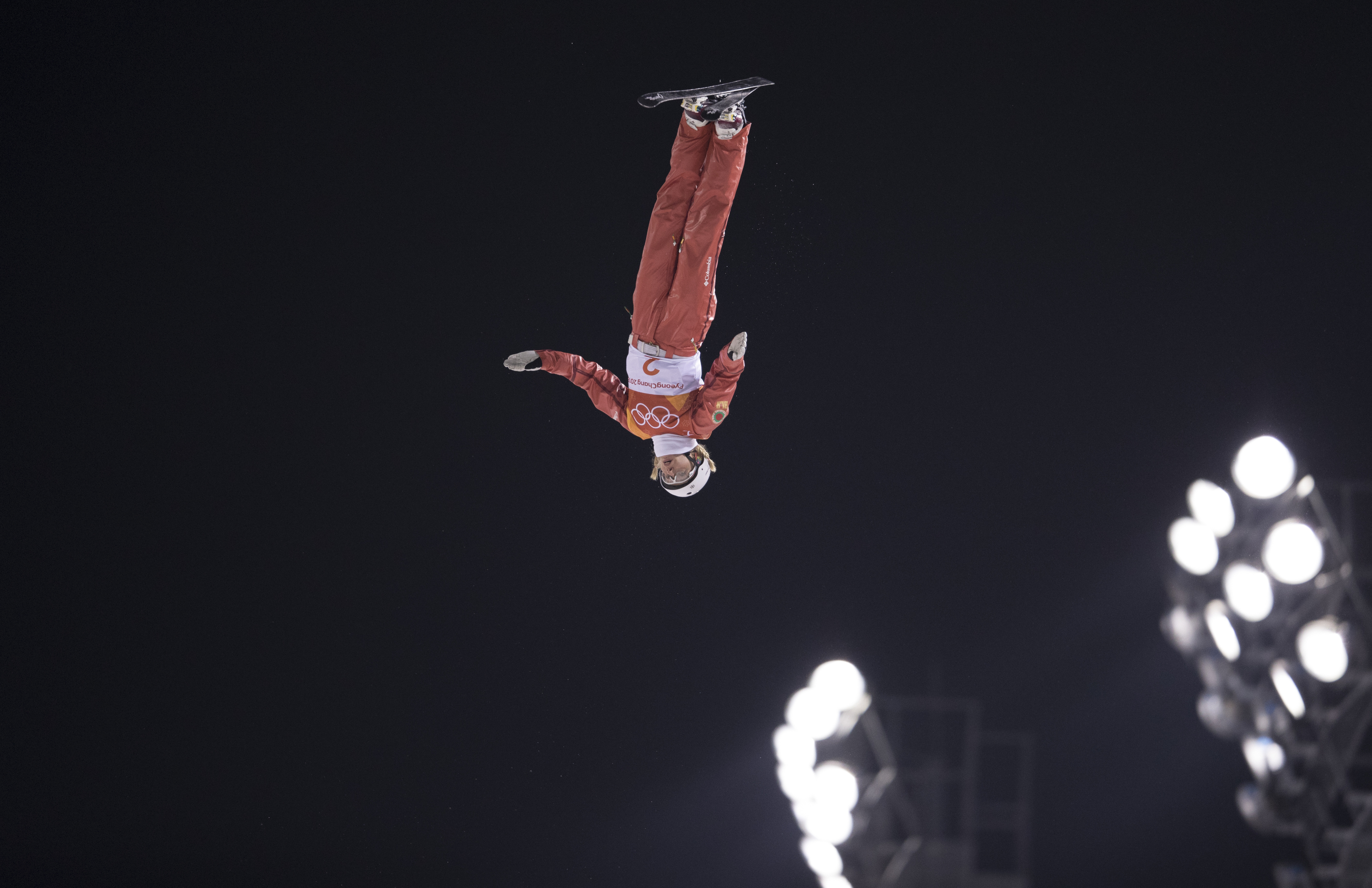 Hanna Huskova of Belarus competes during the Freestyle Skiing Ladies' Aerials Final on day seven of the PyeongChang 2018 Winter Olympic Games at Phoenix Snow Park on February 16, 2018 in Pyeongchang-gun, South Korea.