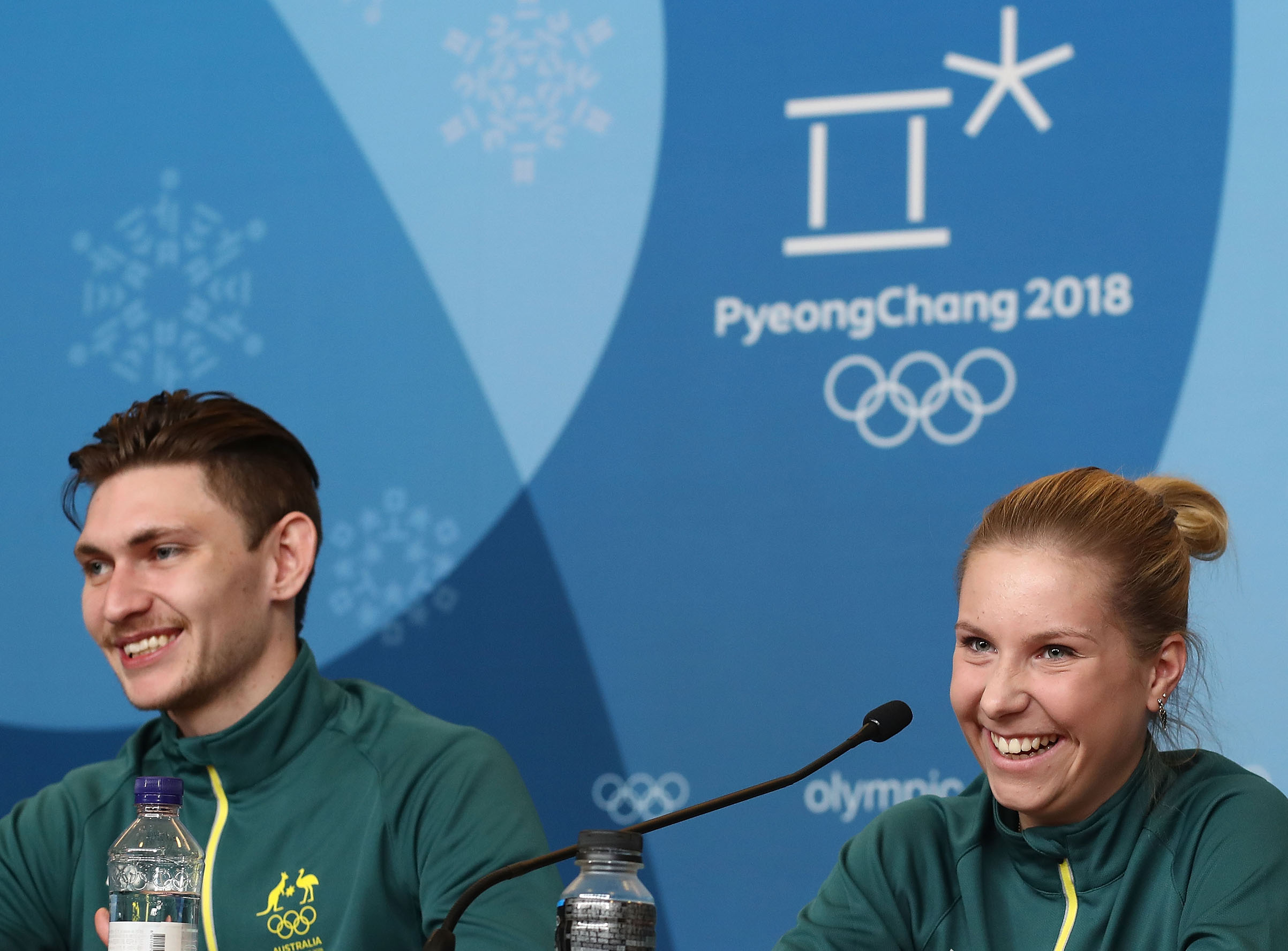 Australian Figure Skaters Harley Windsor and Ekaterina Alexandrovskaya speak during a press conference ahead of the PyeongChang 2018 Winter Olympic Games at Alpensia Ski Resort in Pyeongchang-gun, South Korea, on Feb. 8, 2018.