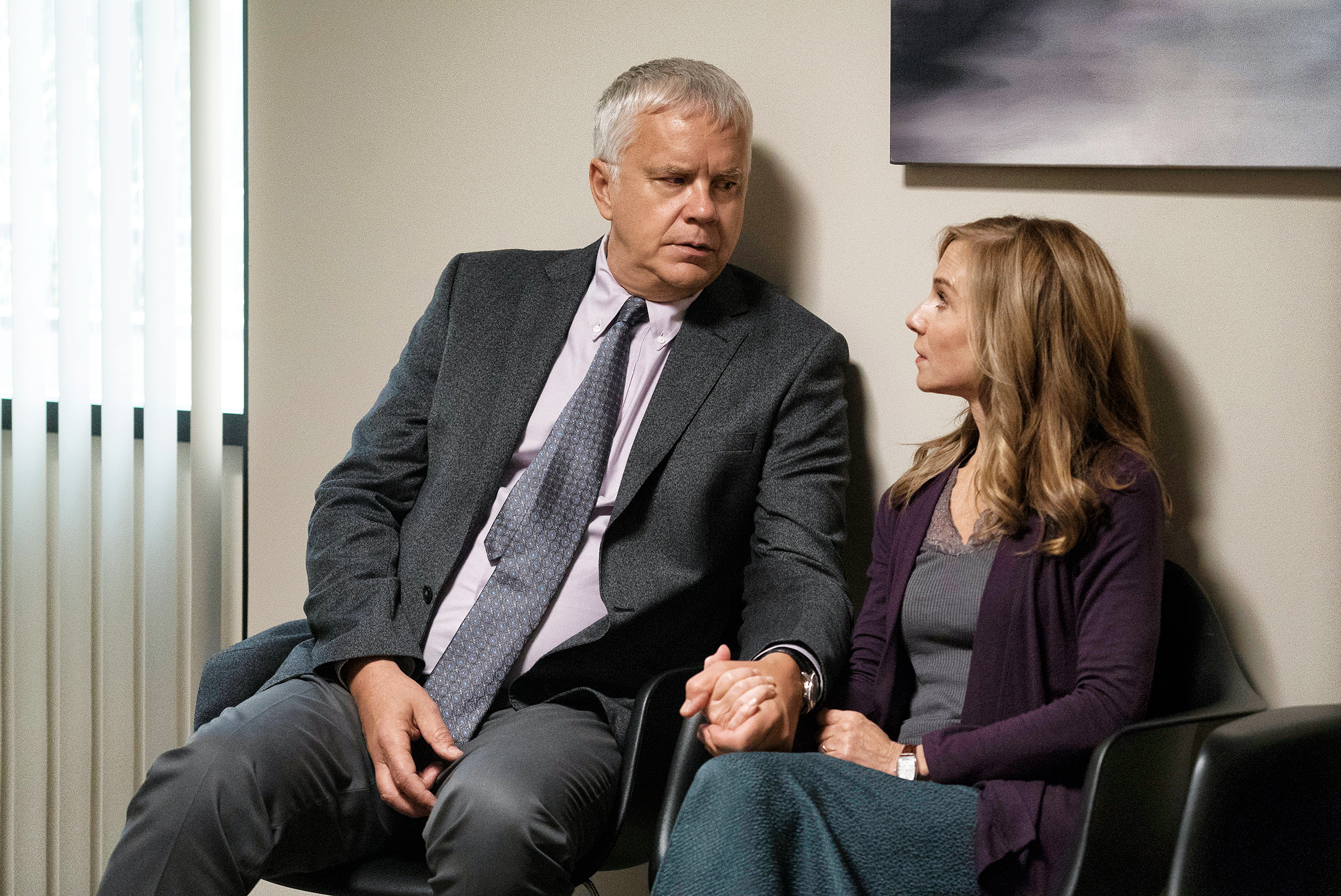 Life in the present: Greg (Tim Robbins) and his wife Audrey (Holly Hunter) in Here and Now