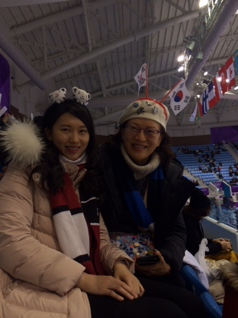 Alice Park — TIME Yeonju Lee and her mother Soonyeon Jang at the pairs short program competition in Gangneung Ice Arena on Feb. 14, 2018.