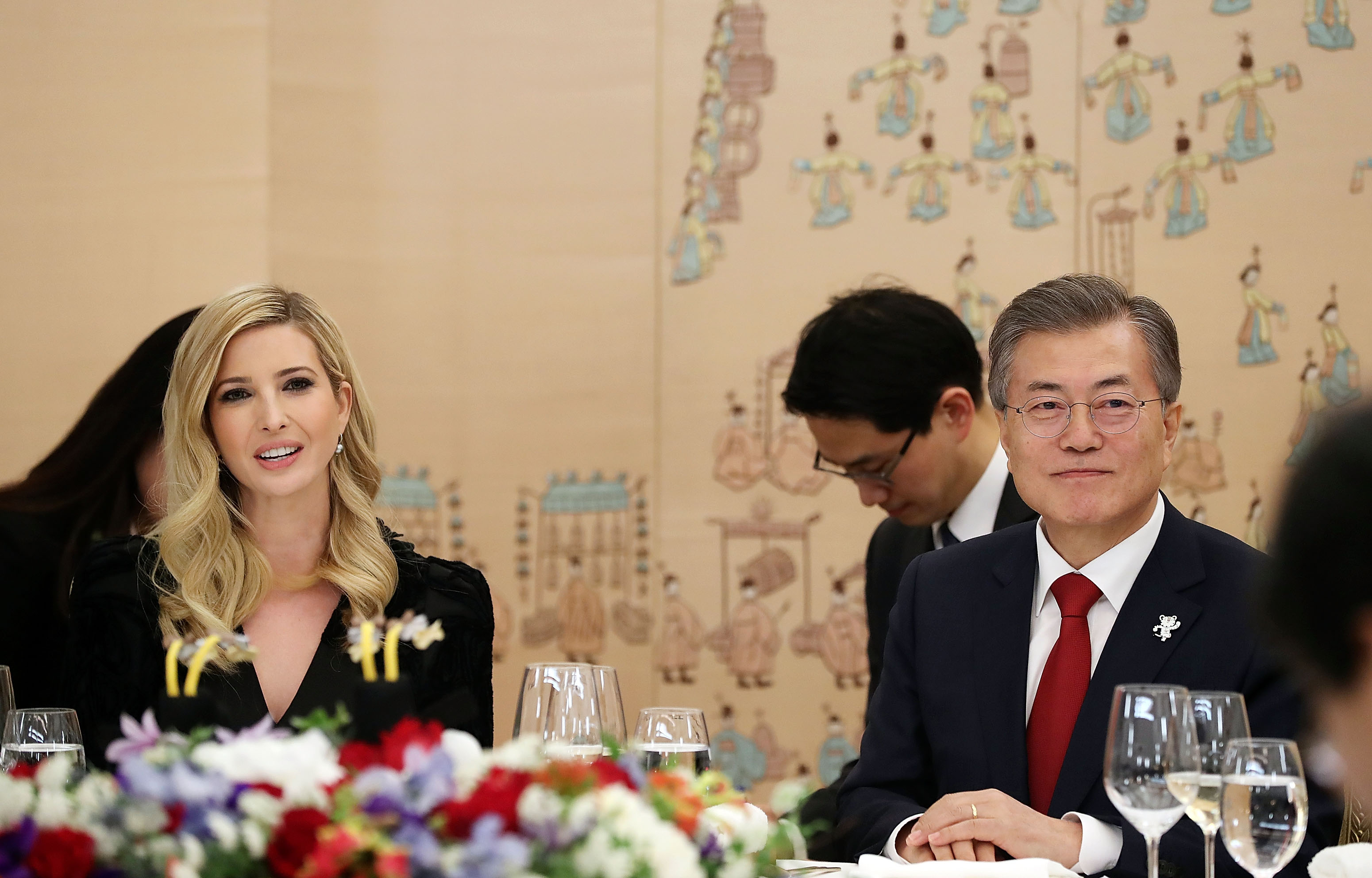 In this handout image provided by the South Korean Presidential Blue House, South Korean President Moon Jae-In (R) talks with Ivanka Trump (L) during their dinner at the Presidential Blue House on February 23, 2018 in Seoul, South Korea