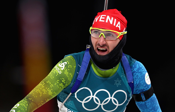 Jakov Fak of Slovenia reacts at the finish of the Men's 20km Individual Biathlon during the 2018 Winter Olympics on February 15, 2018.