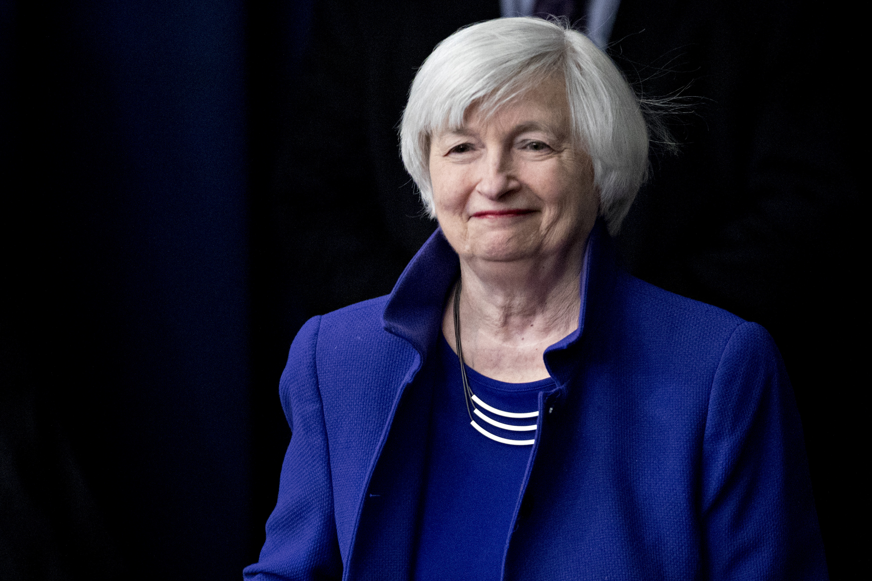 Janet Yellen arrives to a news conference following a Federal Open Market Committee (FOMC) meeting.