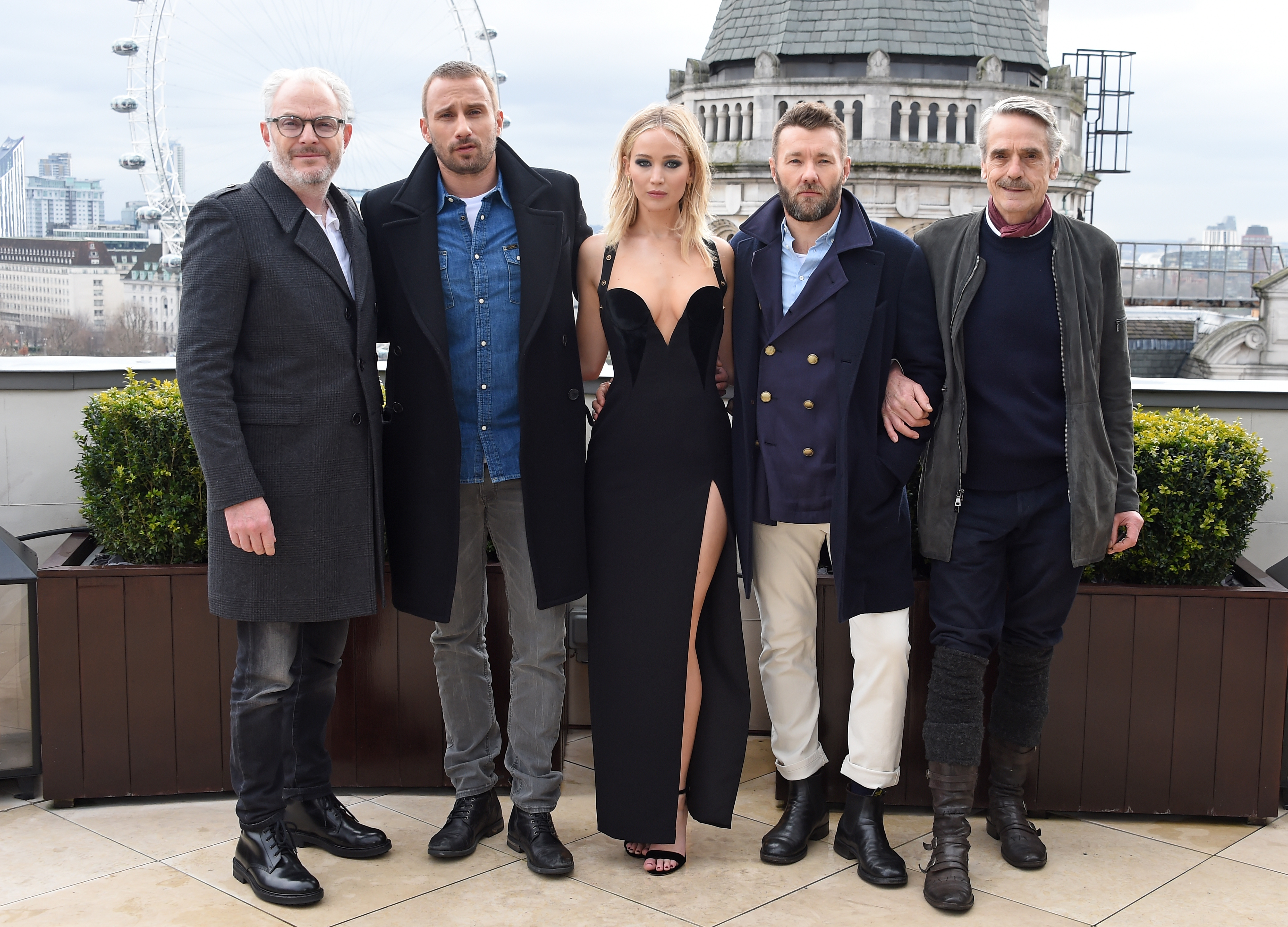Francis Lawrence, Matthias Schoenaerts, Jennifer Lawrence, Joel Edgerton and Jeremy Irons attend the  Red Sparrow  photocall at Corinthia London on February 20, 2018 in London, England.  (Photo by David M. Benett/Dave Benett/Getty Images)
