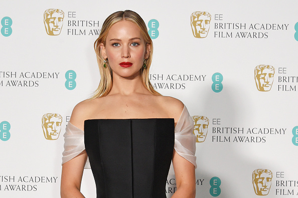 Jennifer Lawrence poses in the press room at the BAFTAs on February 18, 2018 in London, England.