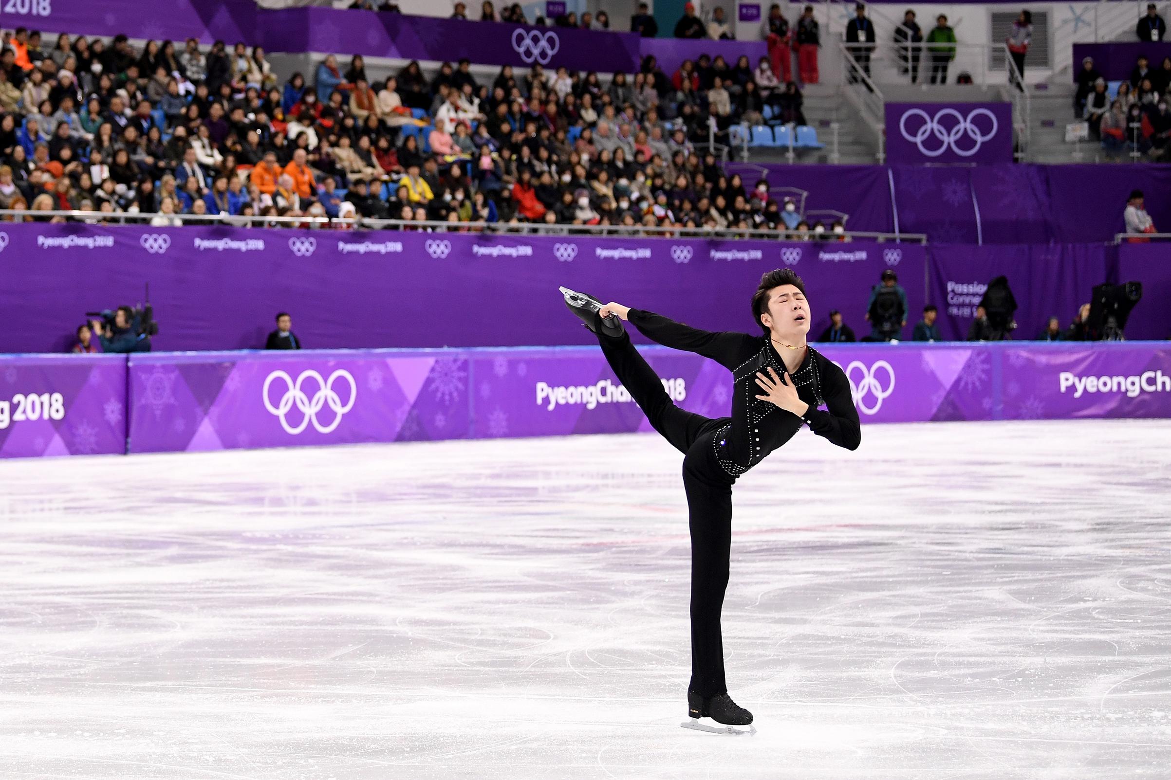 Jin Boyang of China competes during the Men's Single Skating Short Program at Gangneung Ice Arena on Feb. 16, 2018 in Gangneung, South Korea.