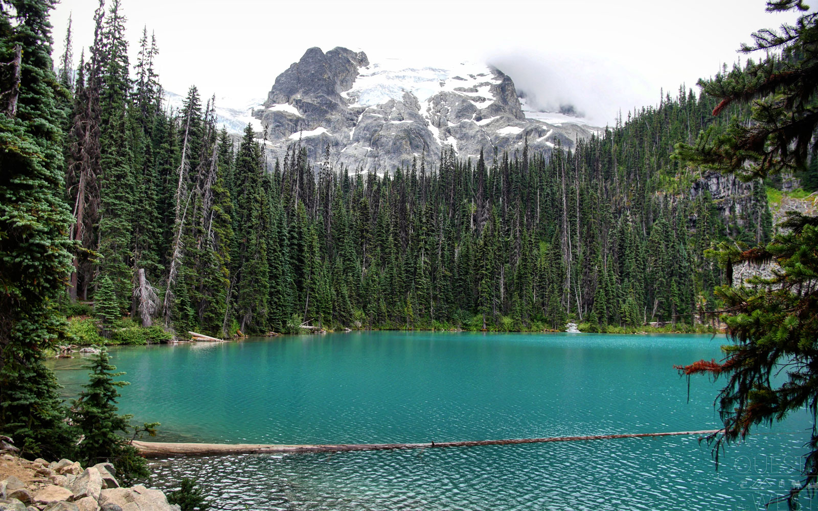 "Joffre Lakes Provincial Park features hiking a trail past three three turquoise lakes, which Paquette said appear increasingly brighter the higher you hike.                               Park representatives say the bright hue is the result of ""rockflour"" (glacial silt) in the water that reflects blue and green light wavelengths from the sun to create the striking color."